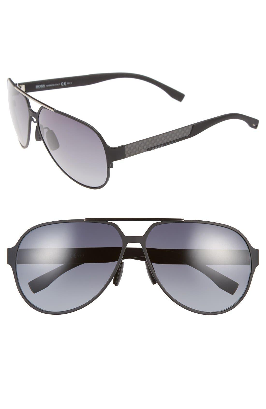 63mm Aviator Sunglasses,                         Main,                         color, Black Ruthenium/ Grey Gradient