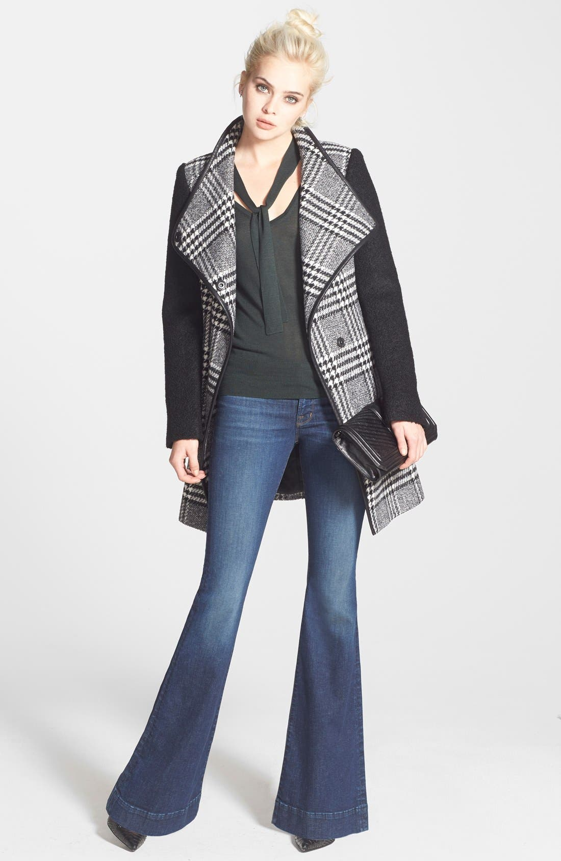 Alternate Image 4  - GUESS Bouclé Sleeve Plaid Wrap Coat (Regular & Petite)