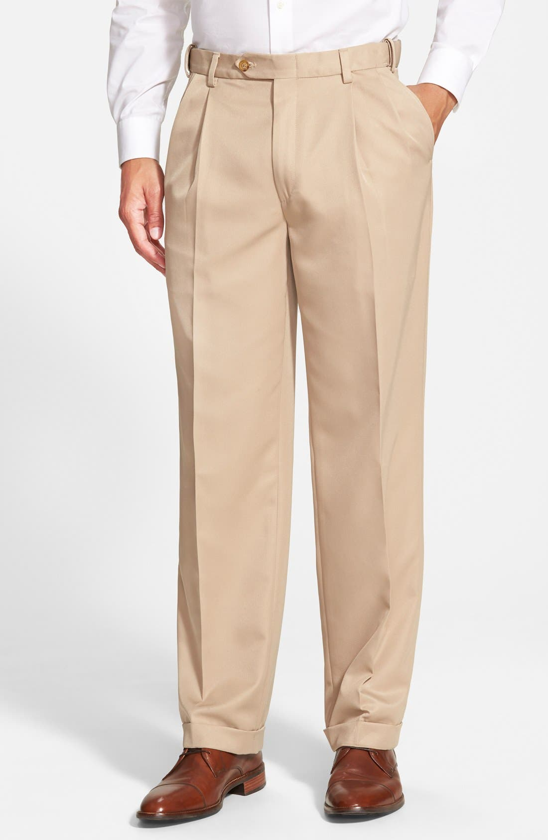 Self Sizer Waist Pleated Trousers,                         Main,                         color, Tan