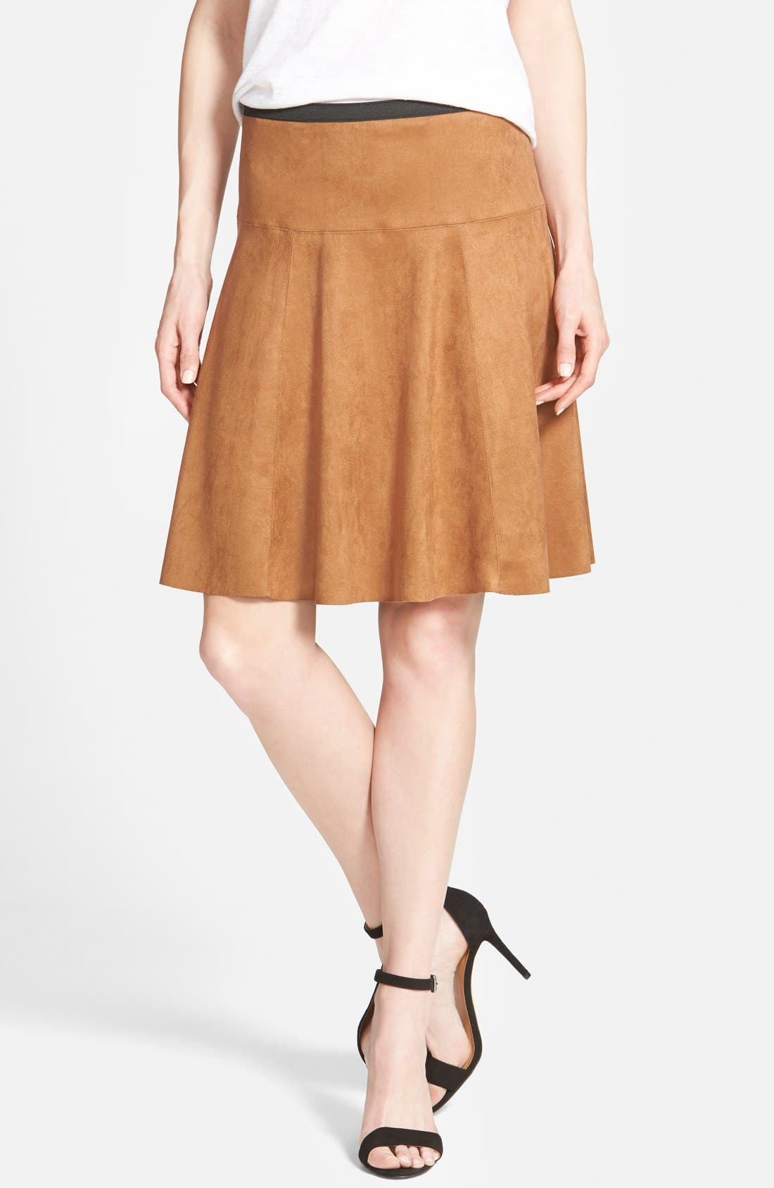 Alternate Image 1 Selected - Karen Kane Faux Suede Flare Panel Skirt