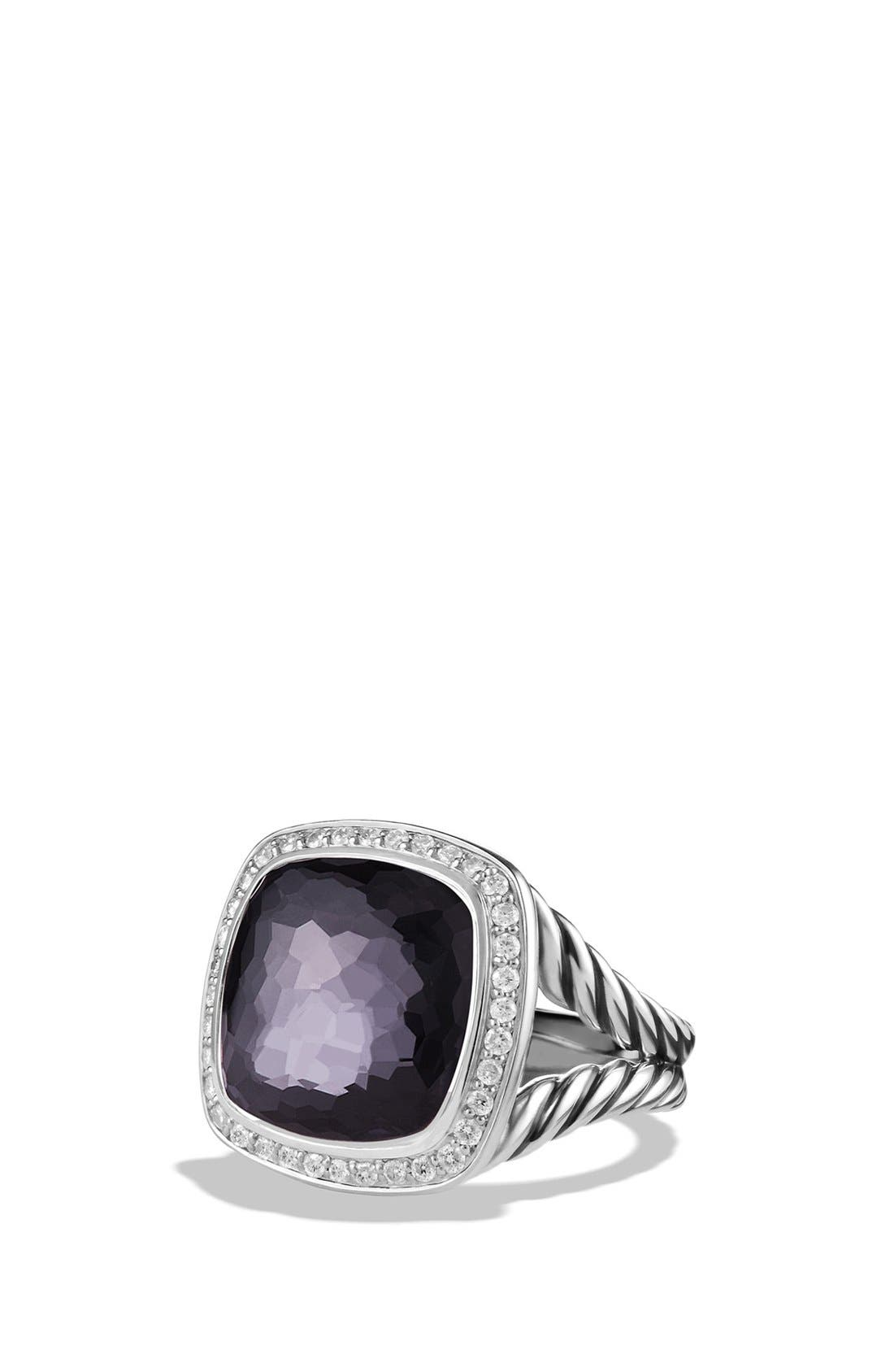 'Albion' Ring with Semiprecious Stone and Diamonds,                         Main,                         color, Amethyst/ Hematine