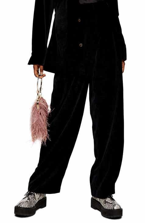 Topshop Herringbone Velvet Wide Leg Trousers