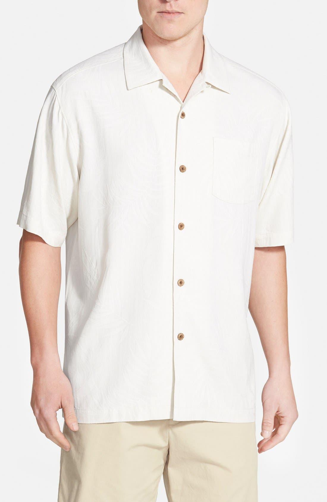 'Tiki Palms' Original Fit Jacquard Silk Camp Shirt,                             Main thumbnail 1, color,                             Coconut