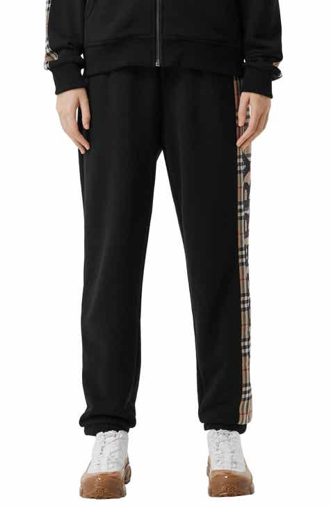 Burberry Raine Vintage Check Panel Cotton Track Pants