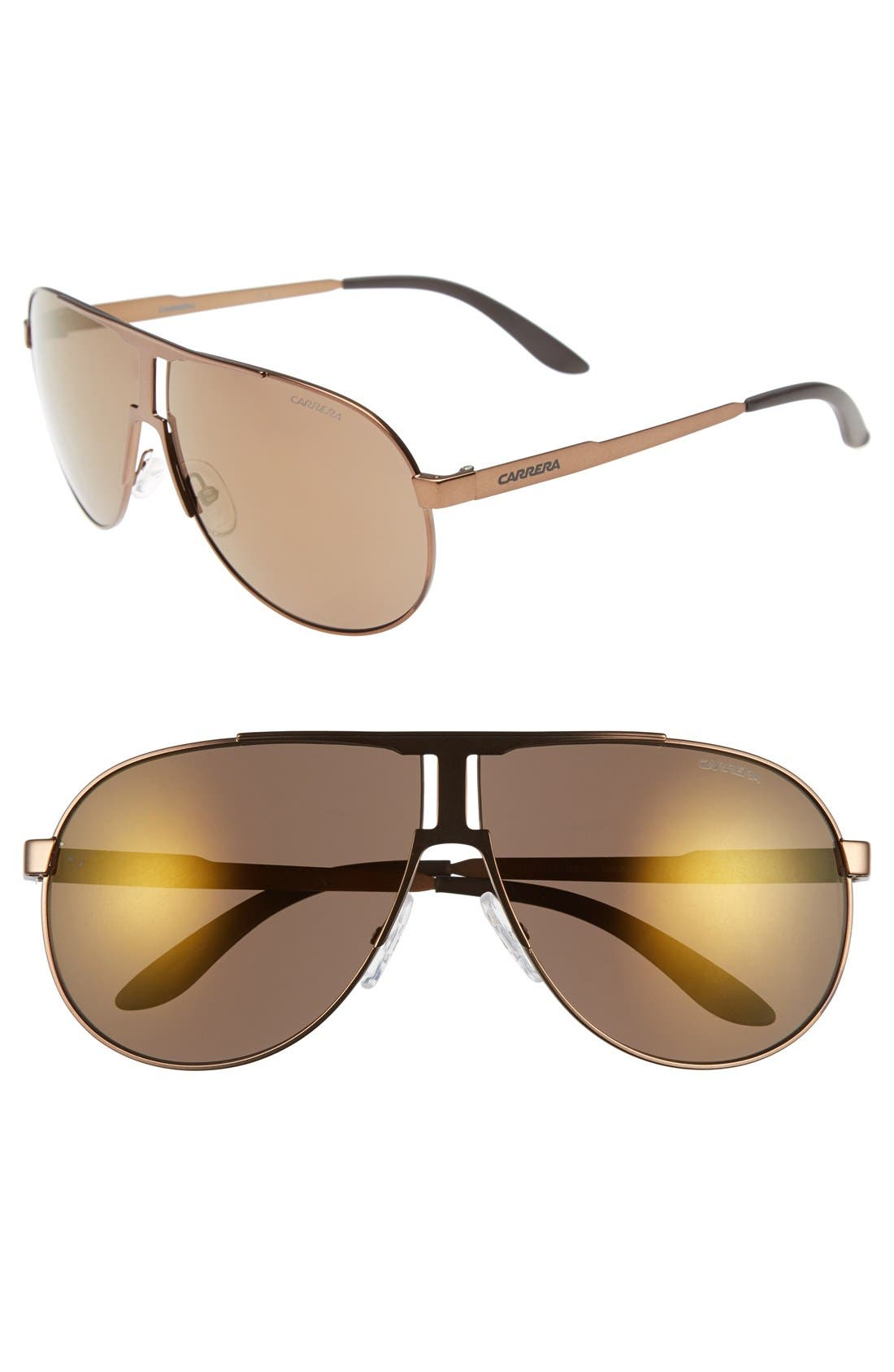 64mm Aviator Sunglasses,                             Main thumbnail 1, color,                             Light Brown/ Violet