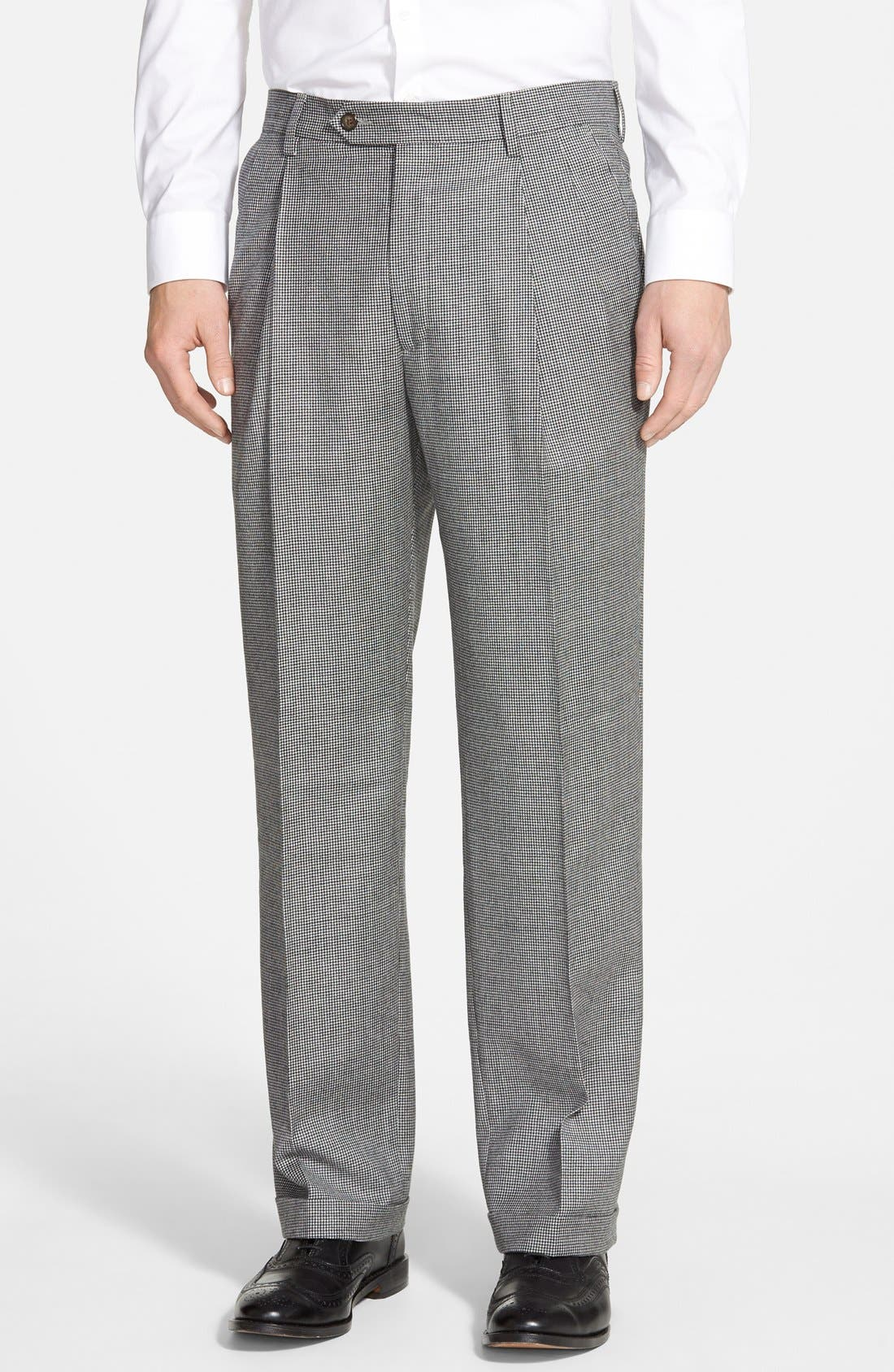 Pleated Houndstooth Wool Trousers,                         Main,                         color, Charcoal