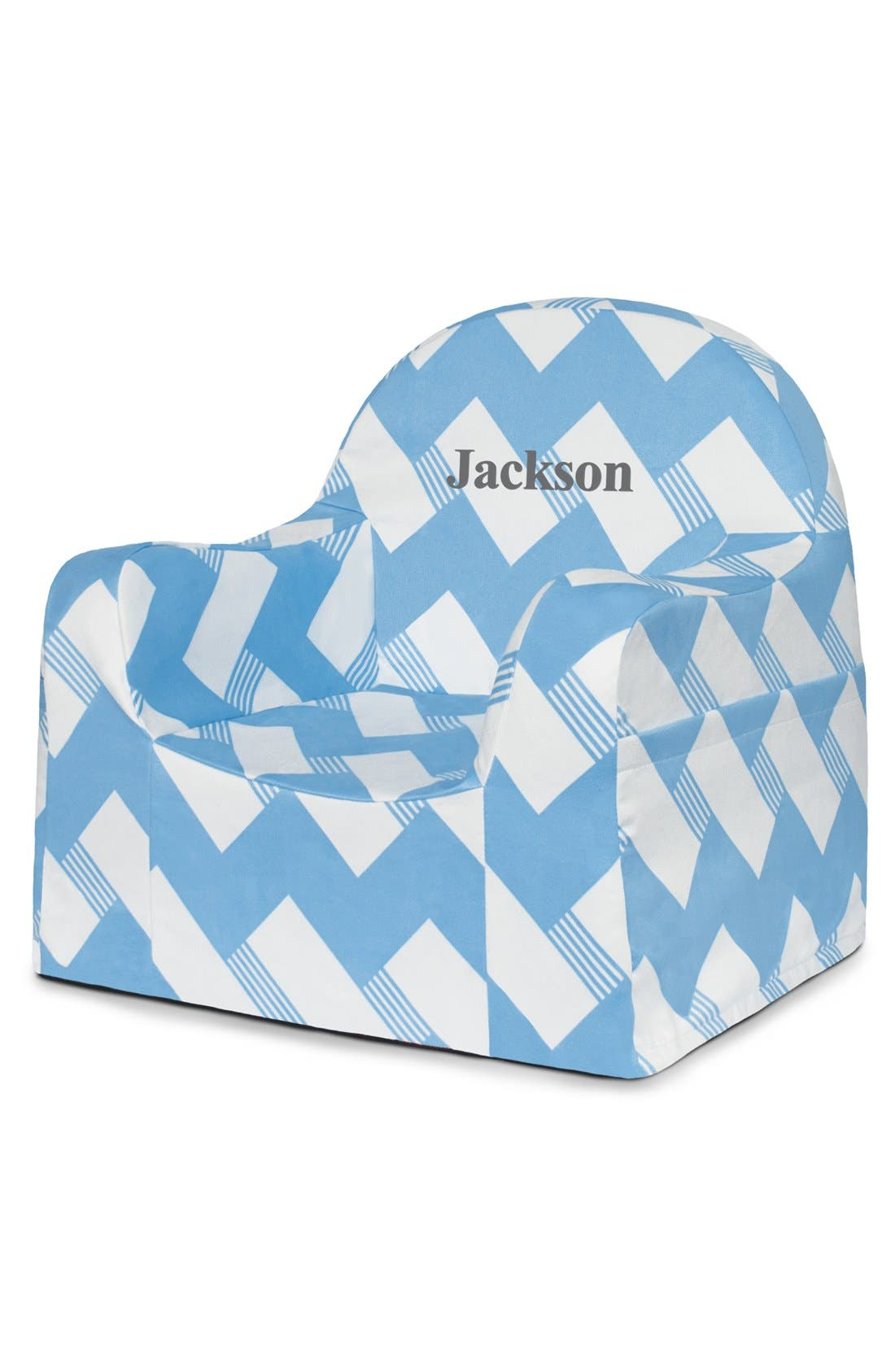 'Personalized Little Reader' Chair,                             Main thumbnail 1, color,                             Zigzag Blue