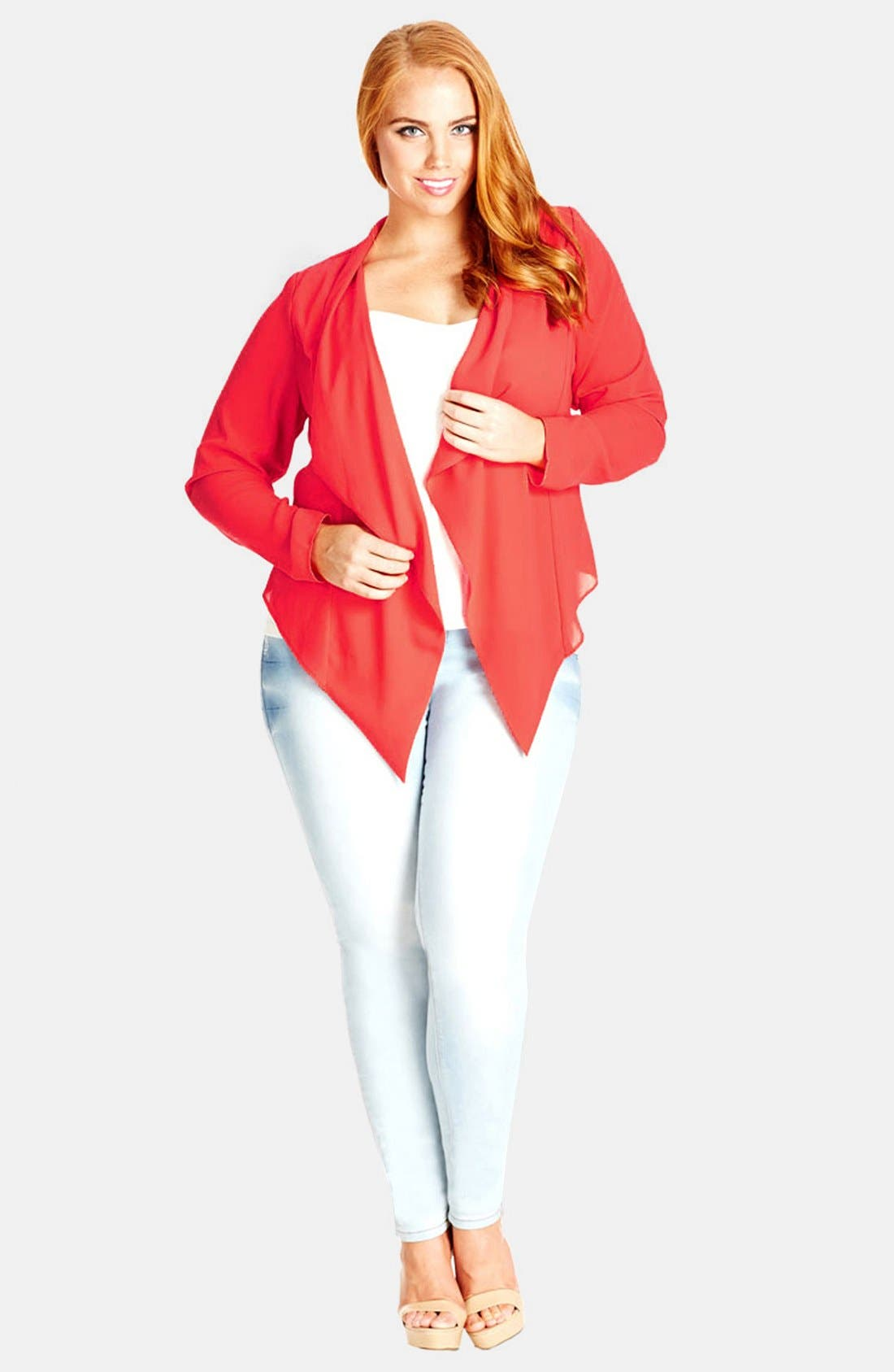 Alternate Image 2  - City Chic Crossover Back Drape Front Jacket (Plus Size)