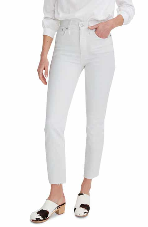 Madewell The Perfect Vintage Raw Hem Jeans (Tile White) (Regular & Plus Size)