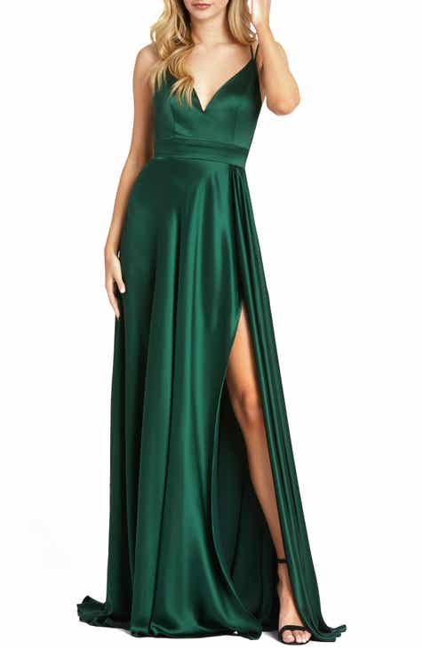 Mac Duggal Strappy Back Satin Gown