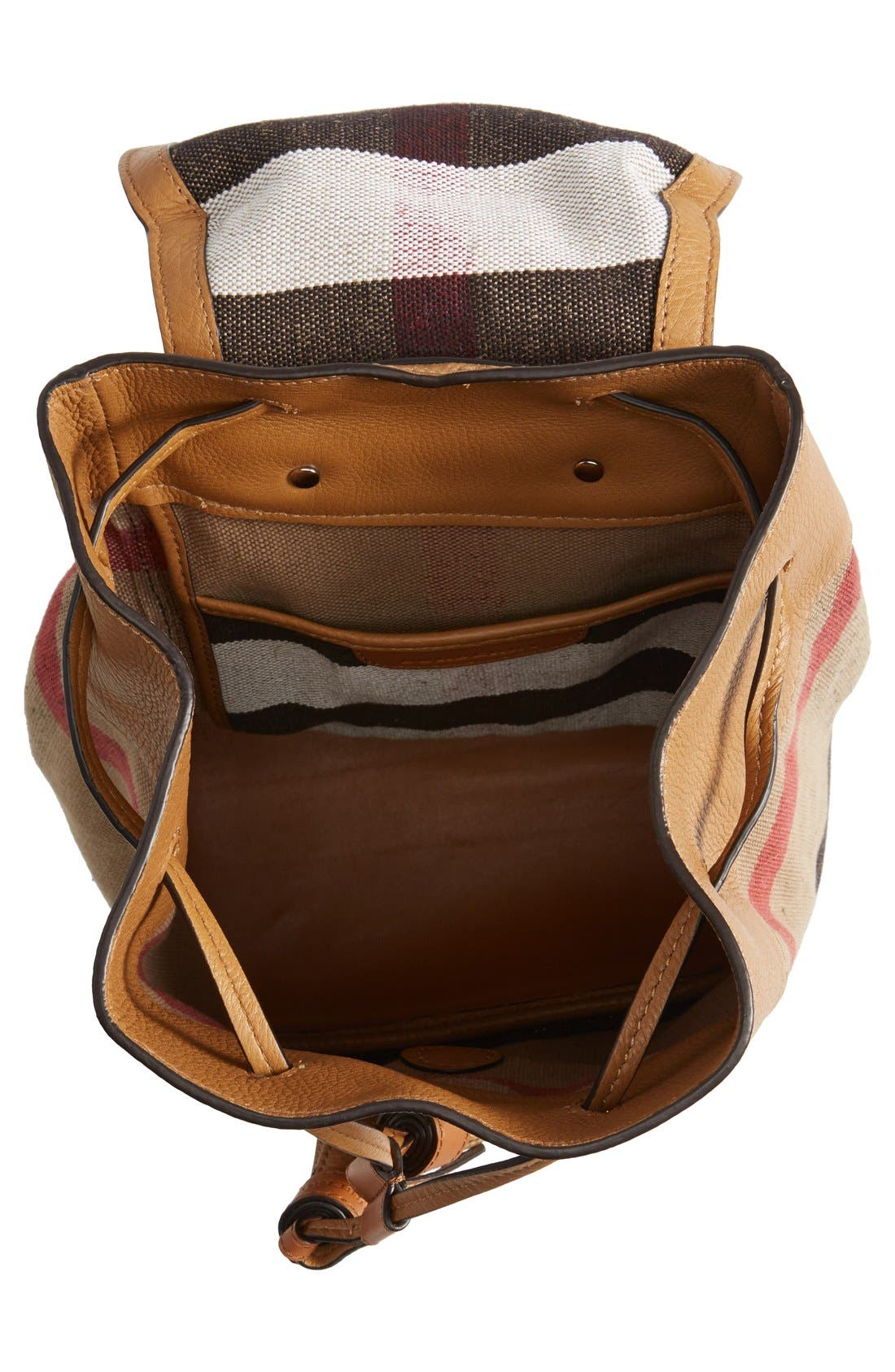 Alternate Image 4  - Burberry Check Print & Leather Mini Backpack (Kids)