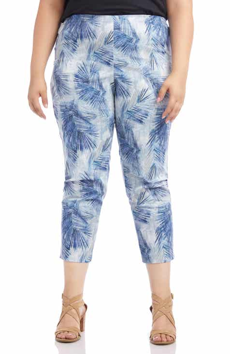 Karen Kane Palm Leaf Print Piper Pants (Plus Size)