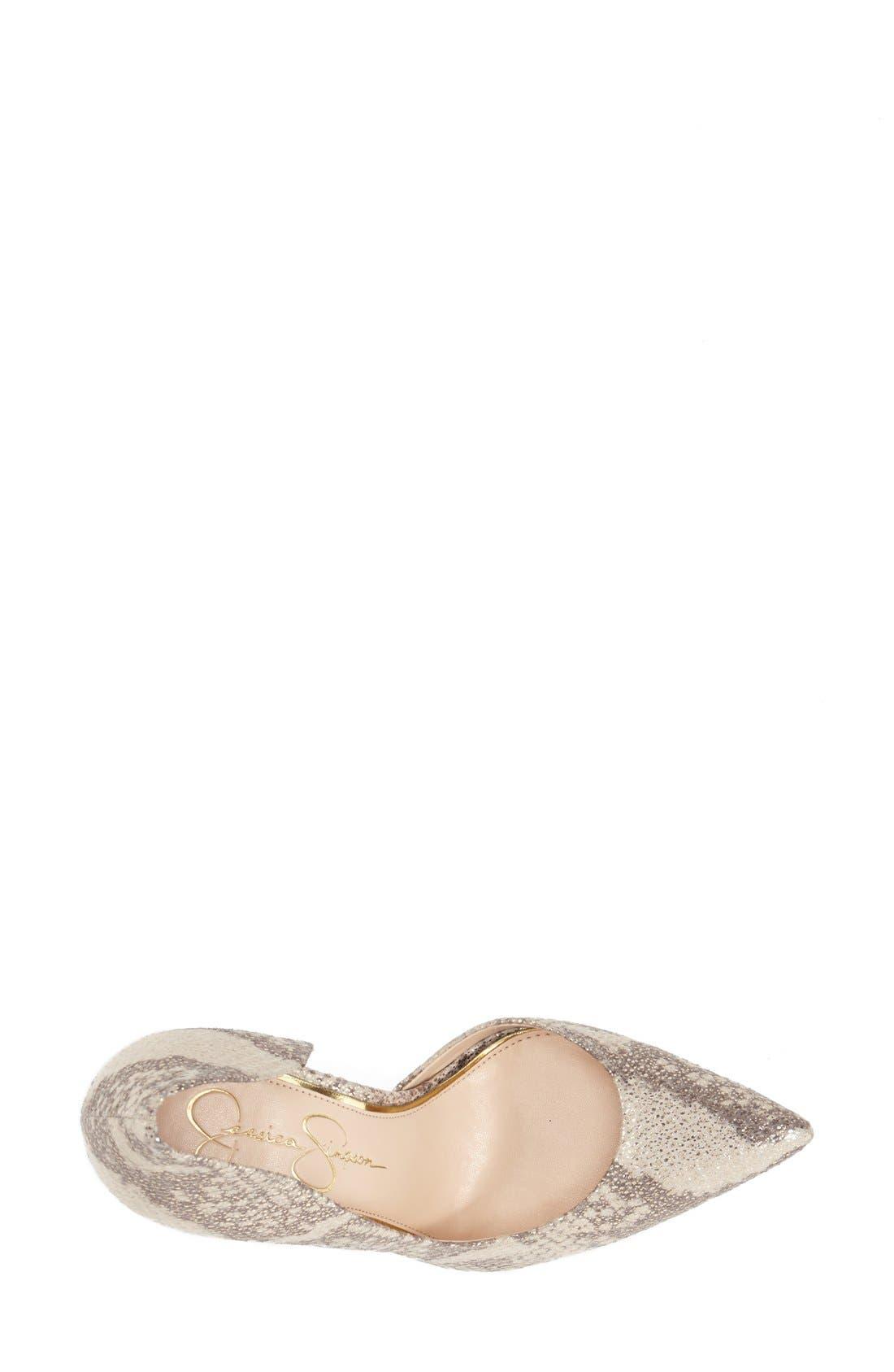 'Claudette' Half d'Orsay Pump,                             Alternate thumbnail 3, color,                             Natural/ Gold