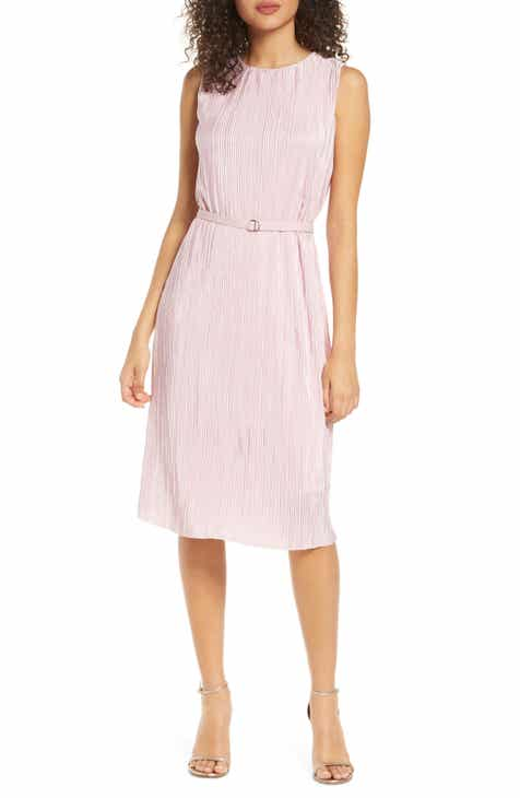 Sam Edelman Belted Plissé Shift Dress