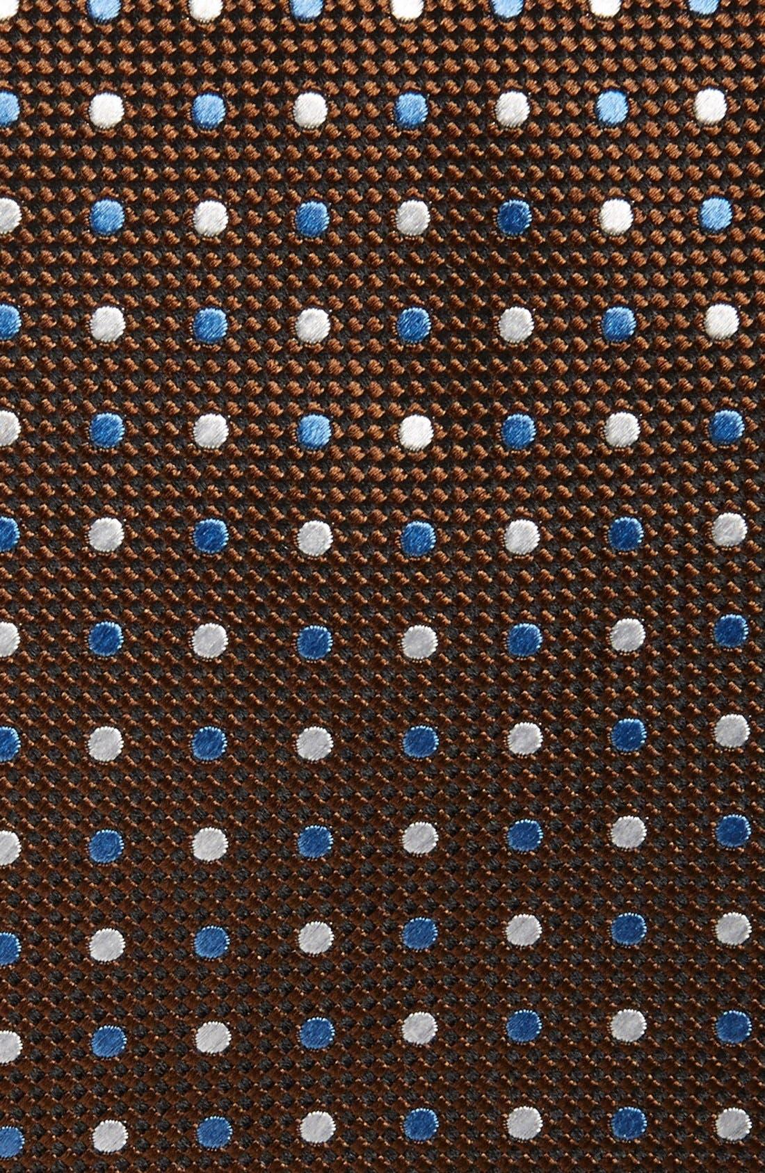 Dot Print Silk Tie,                             Alternate thumbnail 2, color,                             Brown