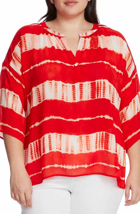 Vince Camuto Shibori Stripe Dolman Sleeve Blouse (Plus Size)