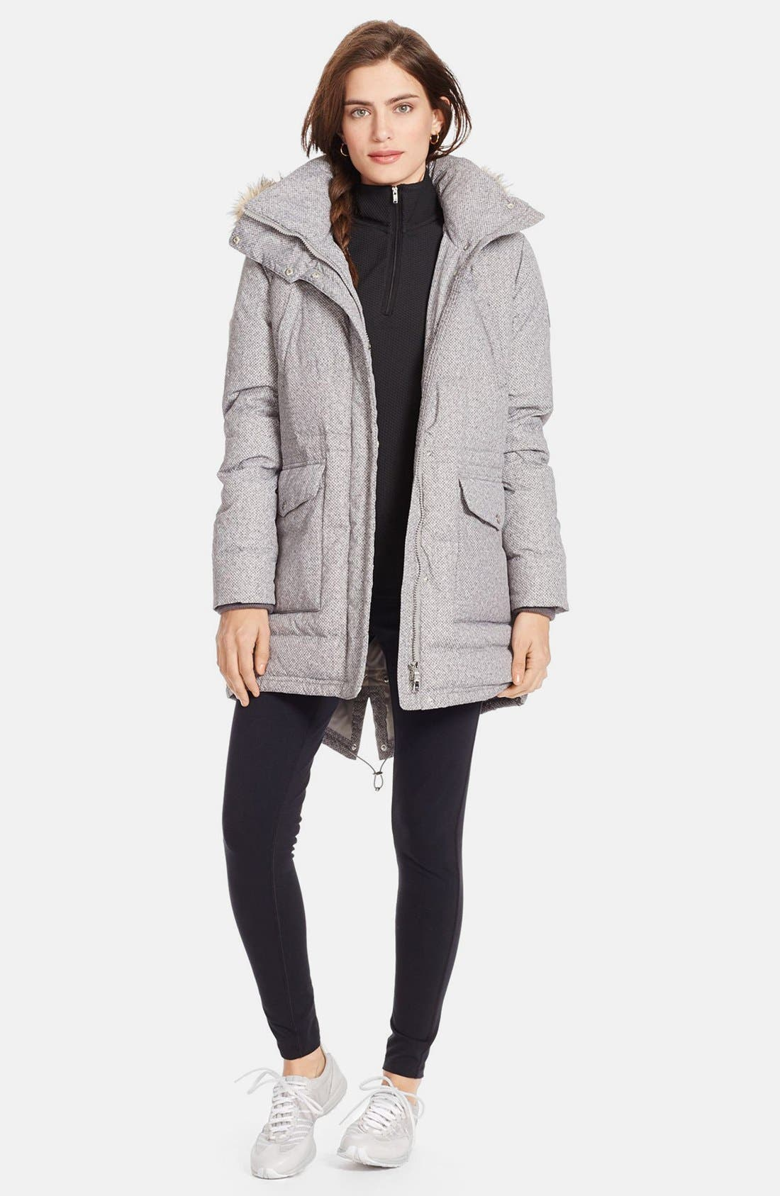 Main Image - Lauren Ralph Lauren Faux Fur Trim Tweed Print Anorak with Down & Feather Fill (Online Only)