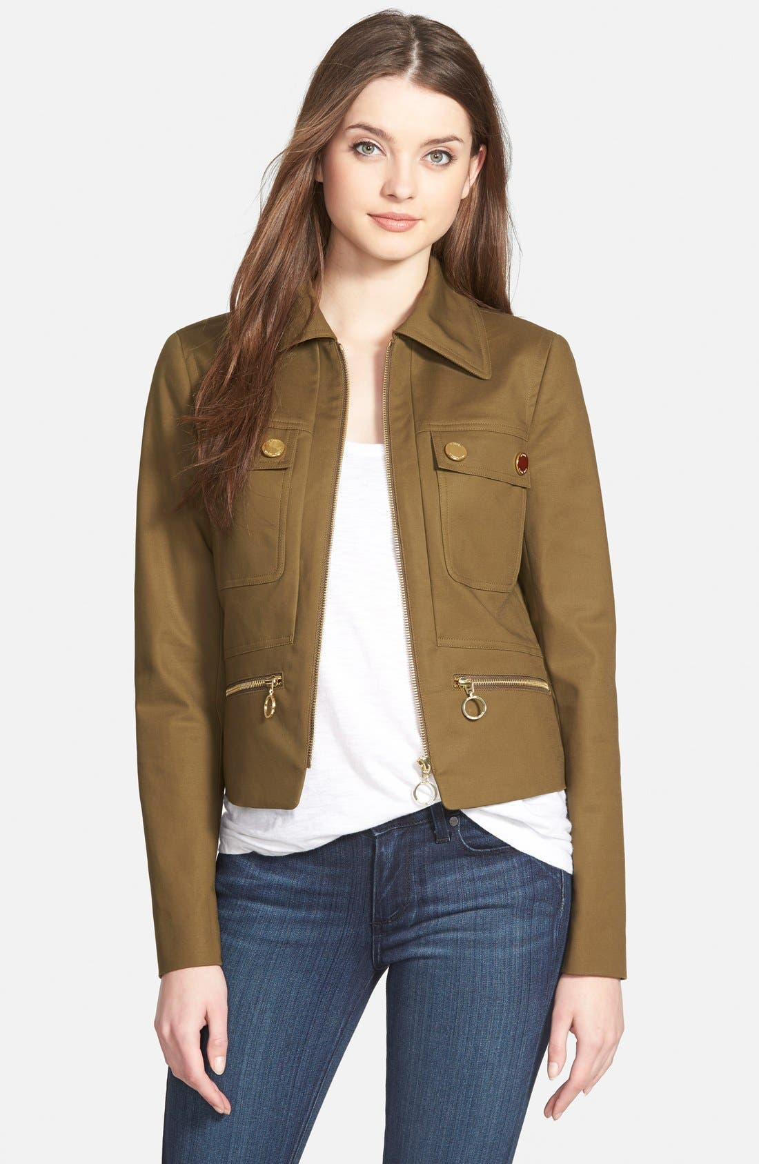 Alternate Image 1 Selected - MICHAEL Michael Kors Paneled Utility Jacket (Regular & Petite)