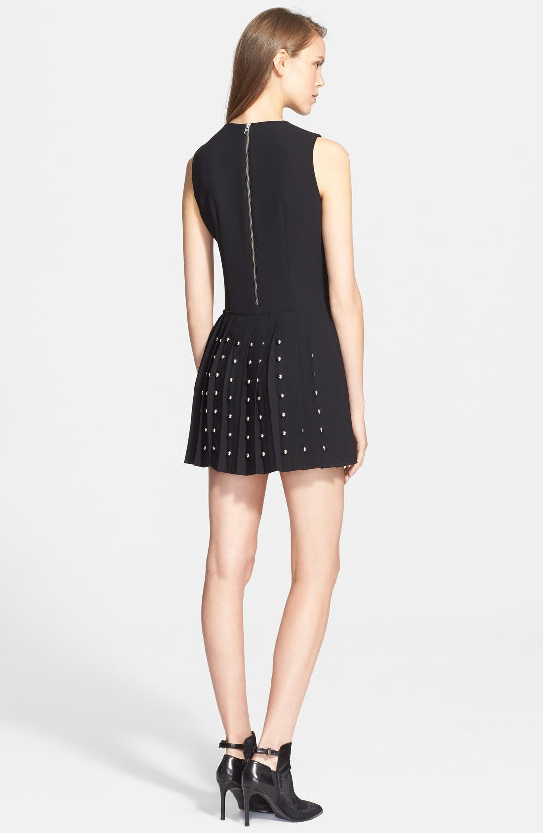 Alternate Image 2  - McQ by Alexander McQueen Studded Pleated Fit & Flare Dress