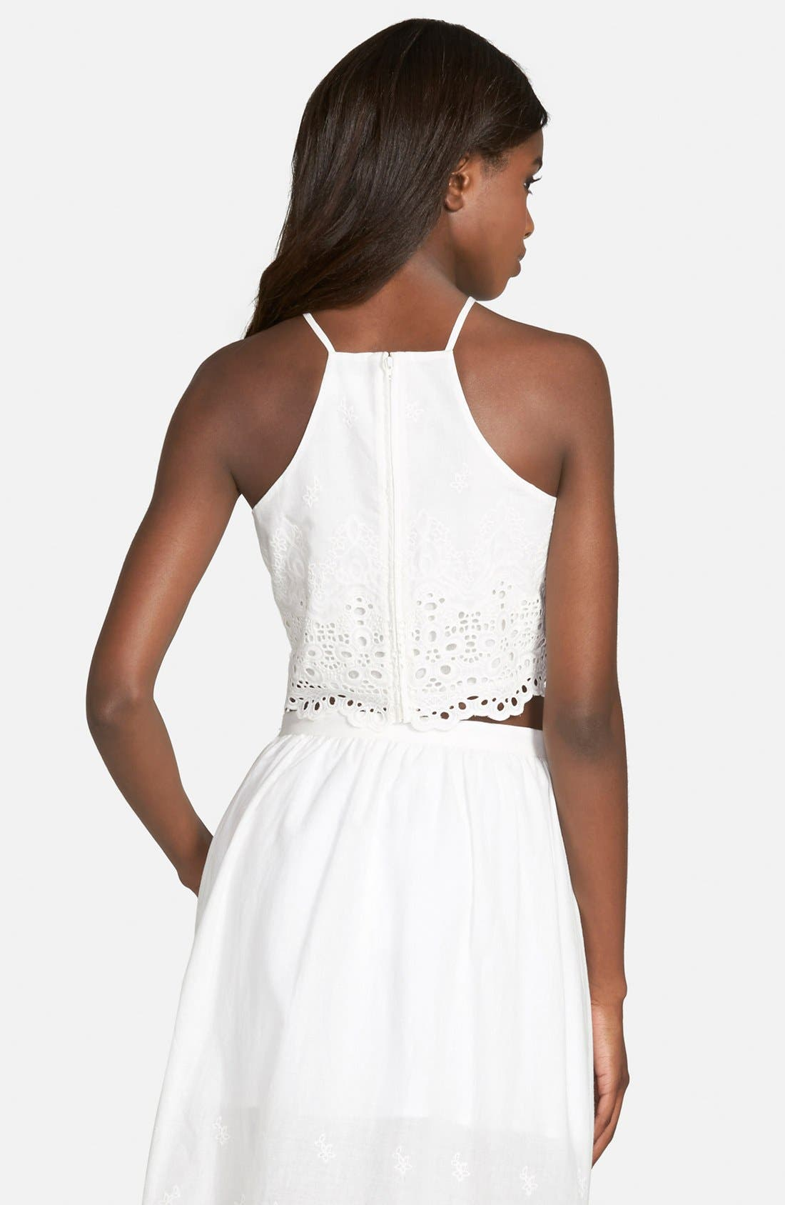Alternate Image 2  - Lucca Couture Eyelet Crop Halter Top