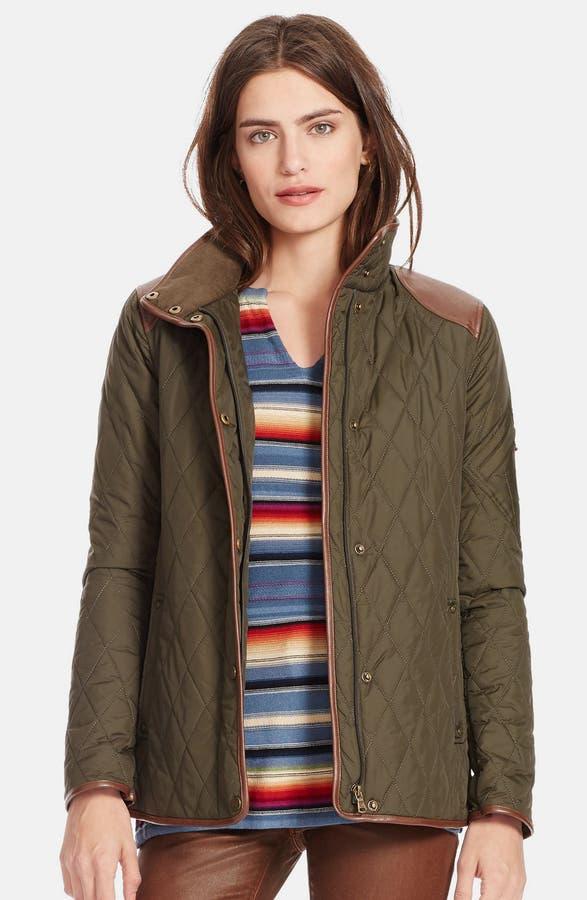 Lauren Ralph Lauren Faux Leather Trim Quilted Jacket (Regular ... : ralph lauren jacket quilted - Adamdwight.com