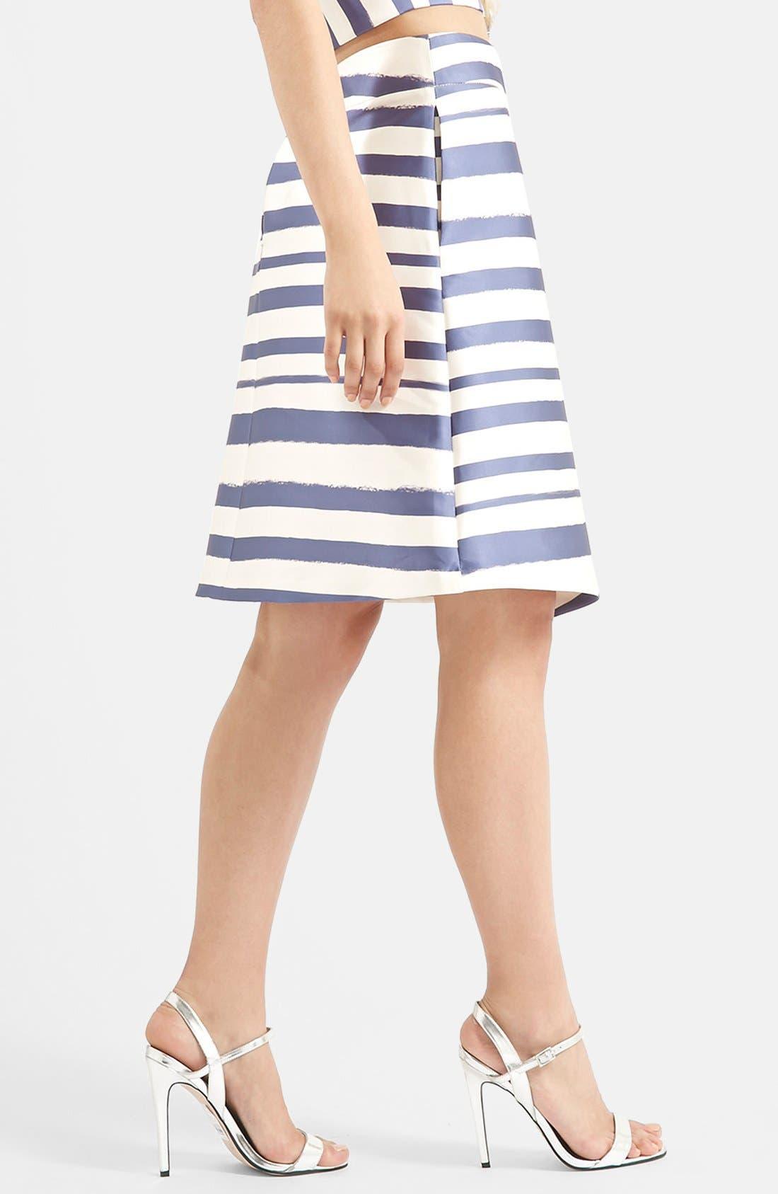 Stripe Midi Skirt,                             Alternate thumbnail 3, color,                             Navy Blue Multi