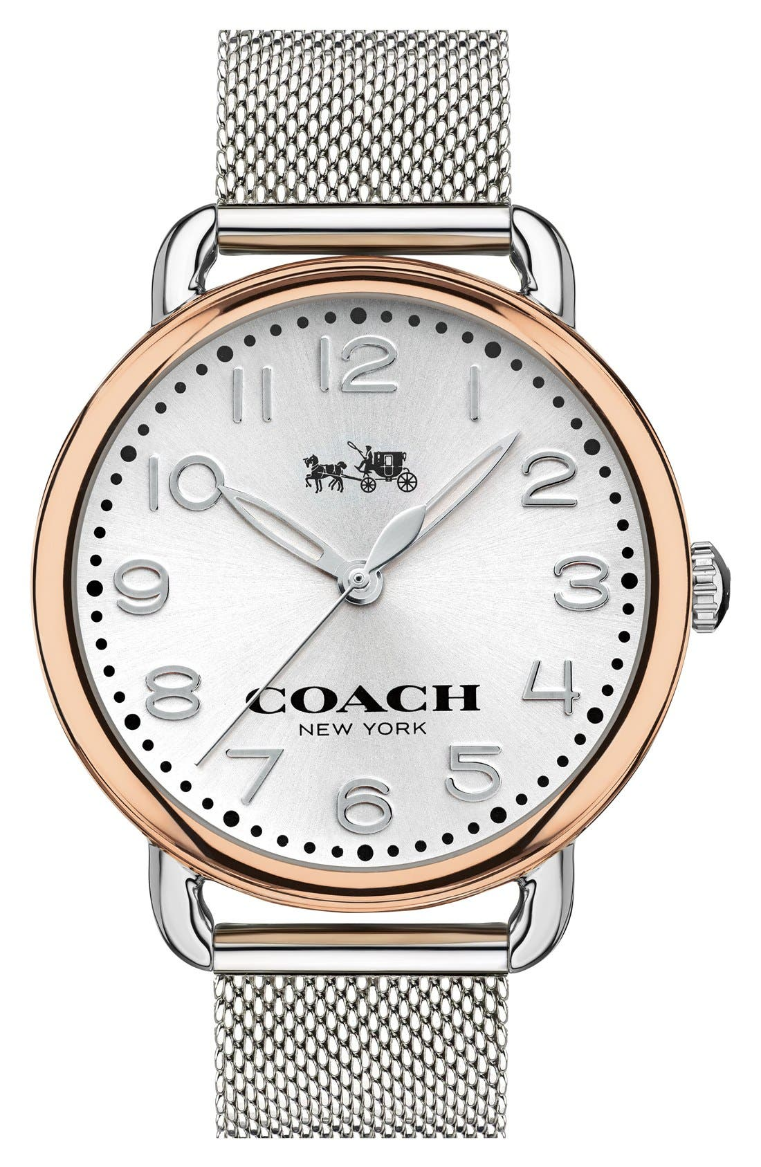 'Delancey' Round Watch, 36mm,                             Main thumbnail 1, color,                             Silver/ Rose Gold