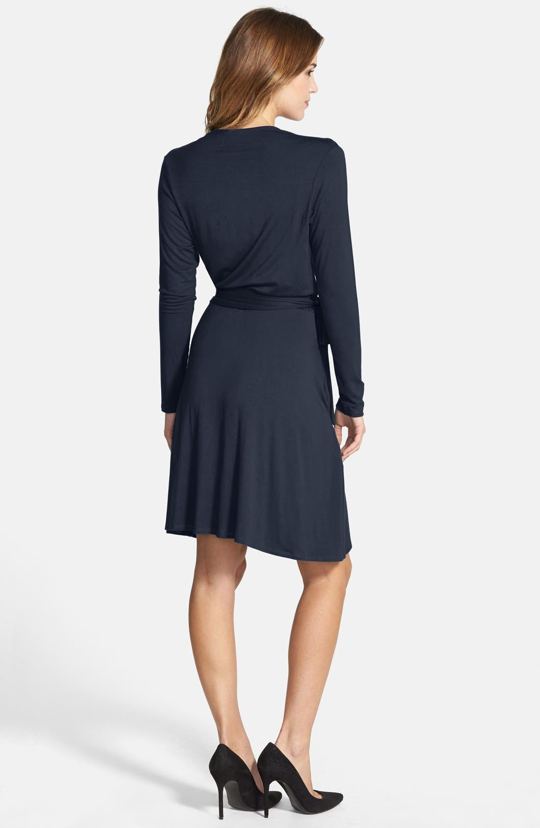 Alternate Image 2  - Loveappella Seamed Wrap Dress (Regular & Petite)