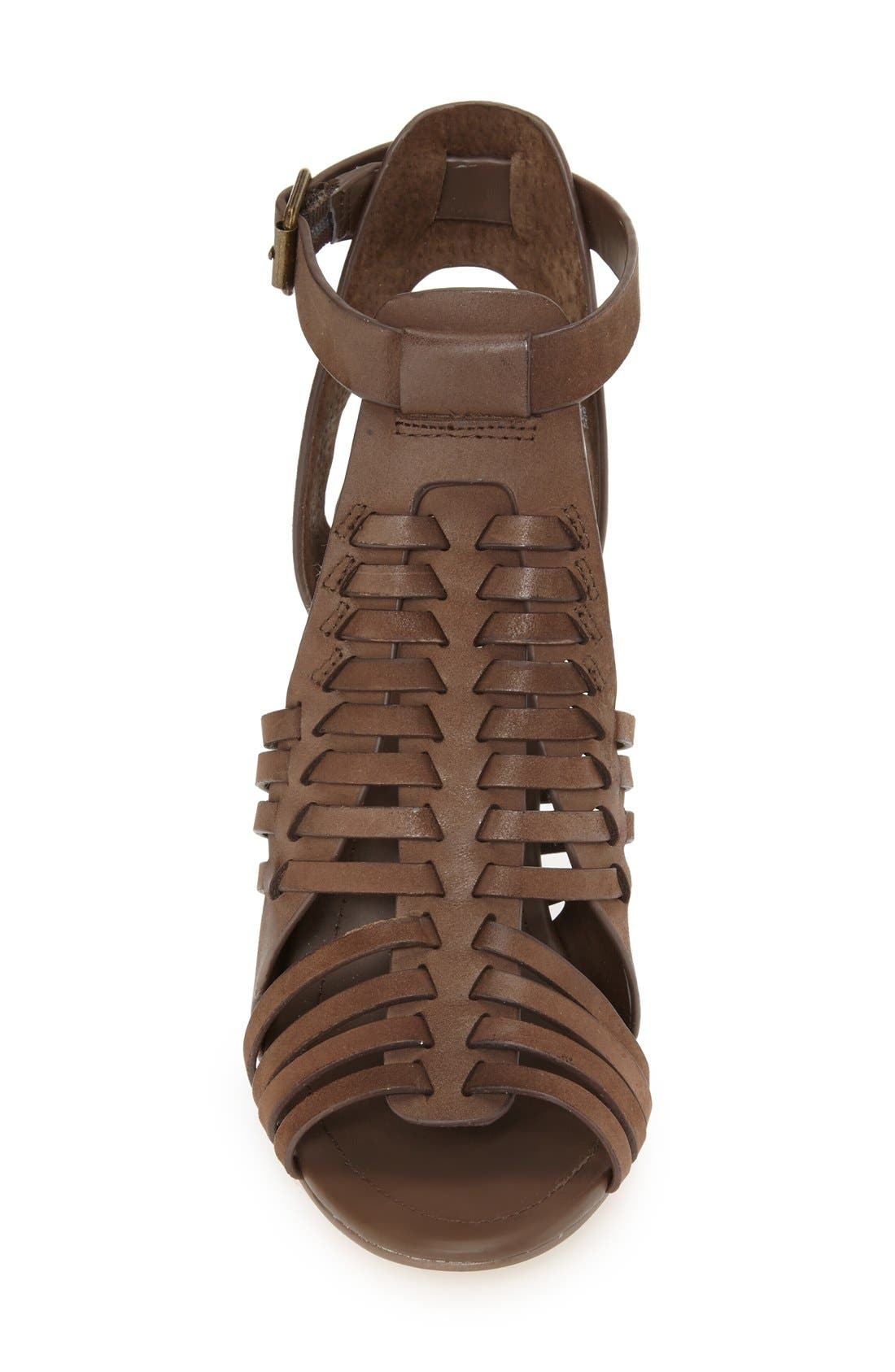 'Sandrina' Huarache Sandal,                             Alternate thumbnail 3, color,                             Brown Leather