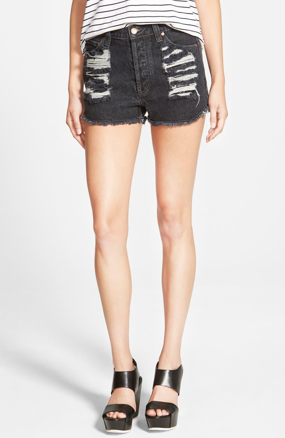 Main Image - MINKPINK 'Brittle Hearts Slasher' Cutoff Shorts (Black)
