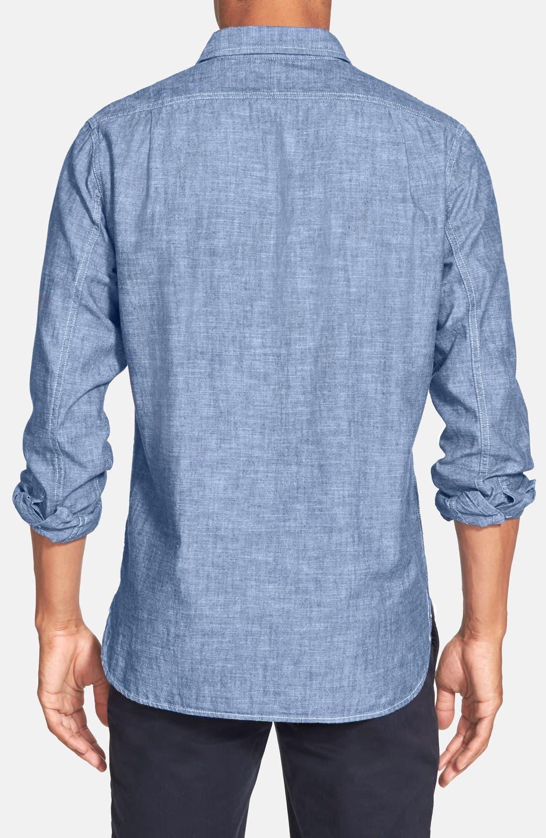 Alternate Image 2  - Grayers Trim Fit Selvedge Chambray Sport Shirt