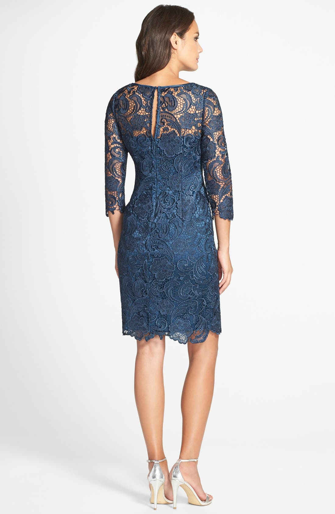 Alternate Image 2  - Adrianna Papell Illusion Yoke Guipure Lace Sheath Dress