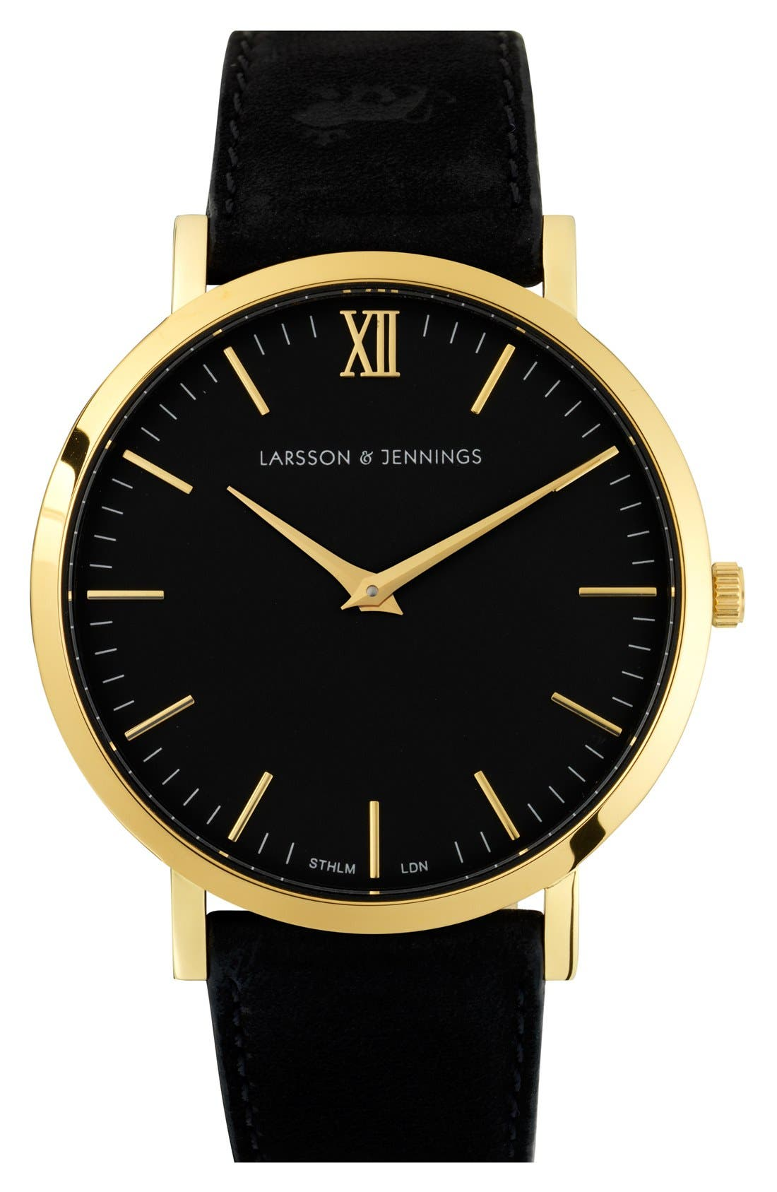 'Lugano' Leather Strap Watch, 40mm,                         Main,                         color, Black/ Gold