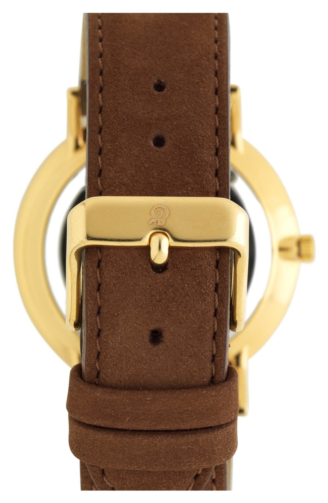 'Lugano' Leather Strap Watch, 40mm,                             Alternate thumbnail 2, color,                             Brown/ White/ Gold