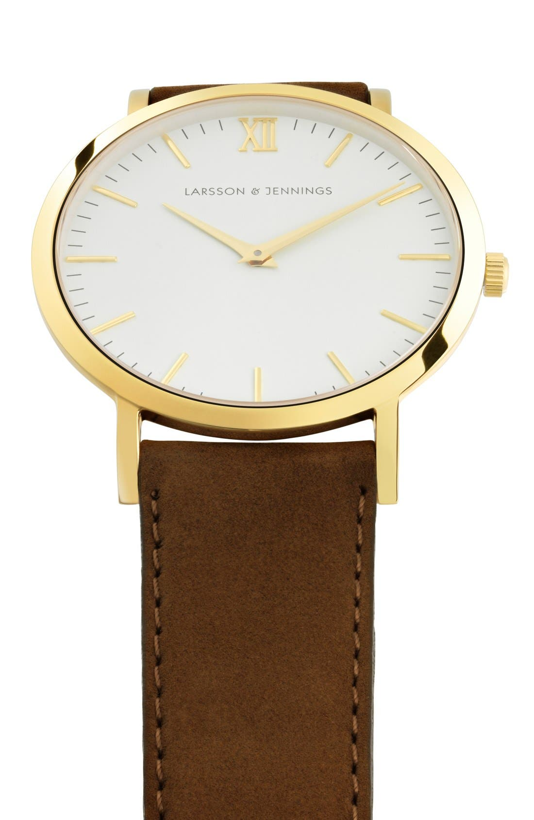 'Lugano' Leather Strap Watch, 40mm,                             Alternate thumbnail 5, color,                             Brown/ White/ Gold