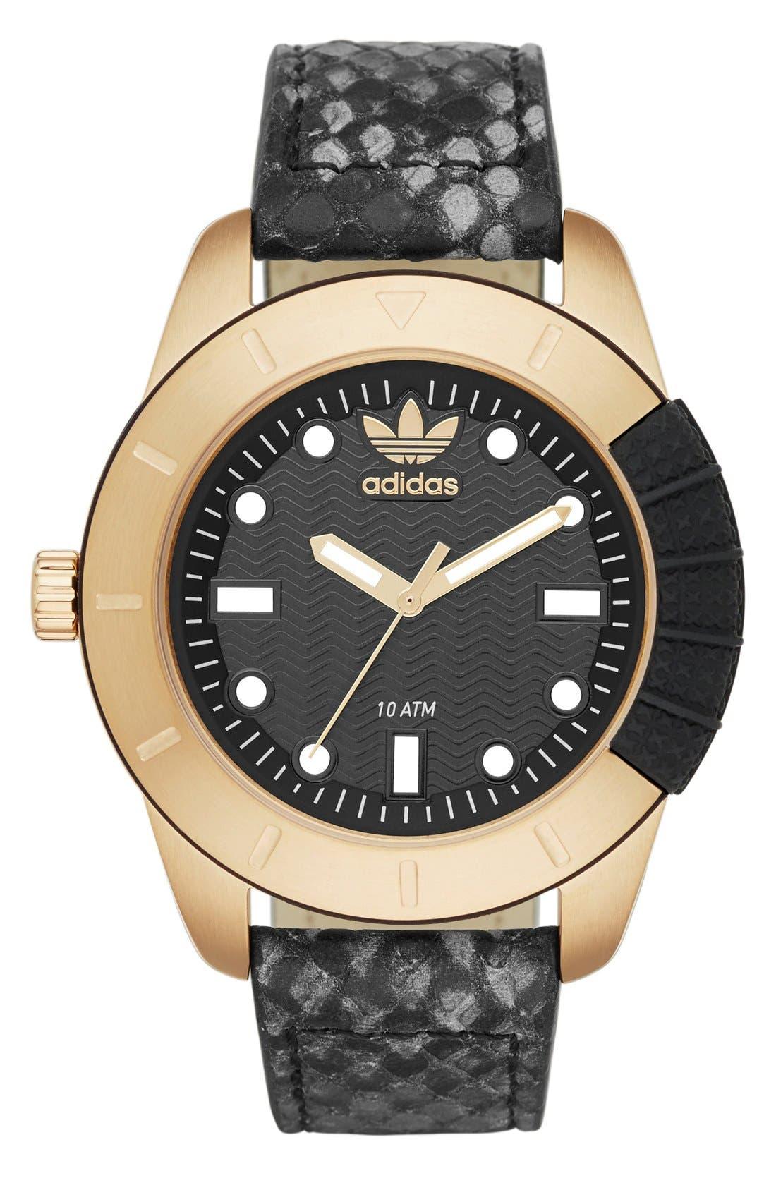 Main Image - adidas Originals 'ADH-1969' Leather Strap Watch, 41mm