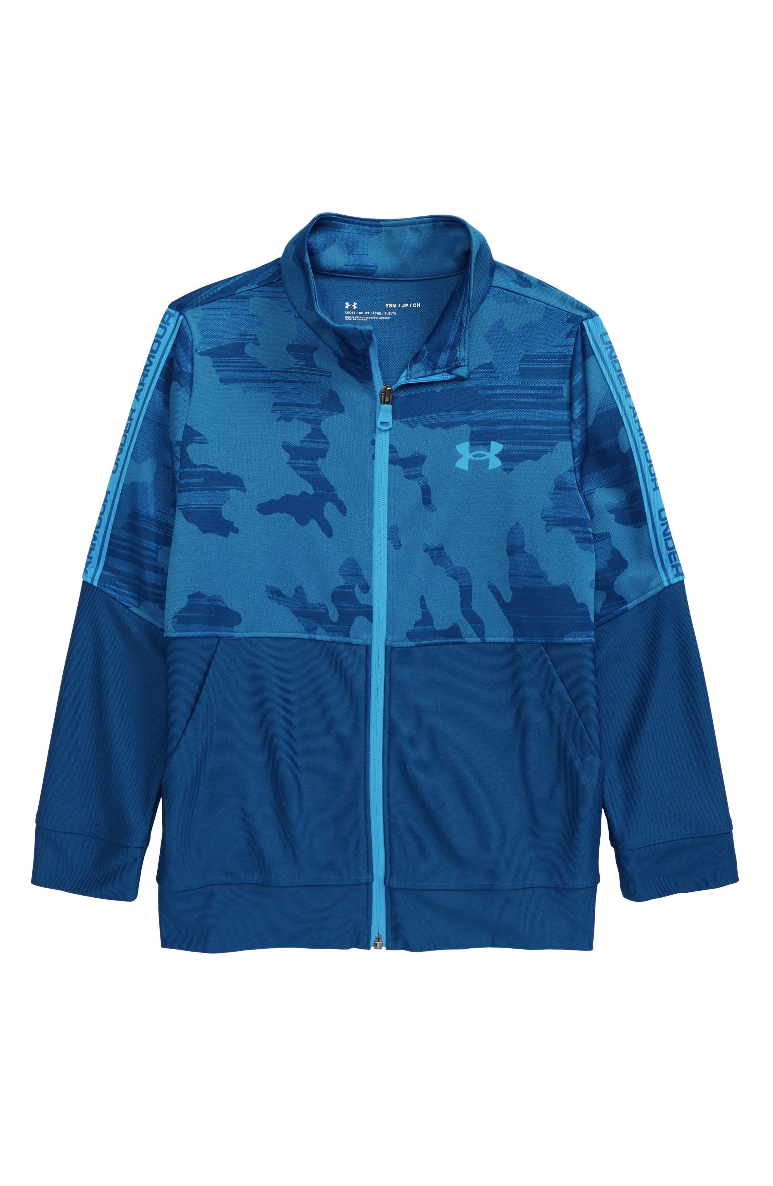 New Boys Under Armour Jacket Baseball Coat Button Up Black Size 4 5 6