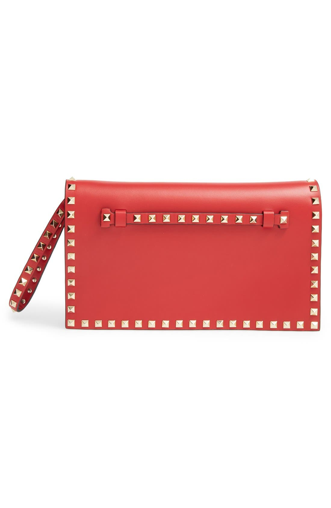 'Rockstud' Leather Flap Clutch,                             Alternate thumbnail 3, color,                             Red