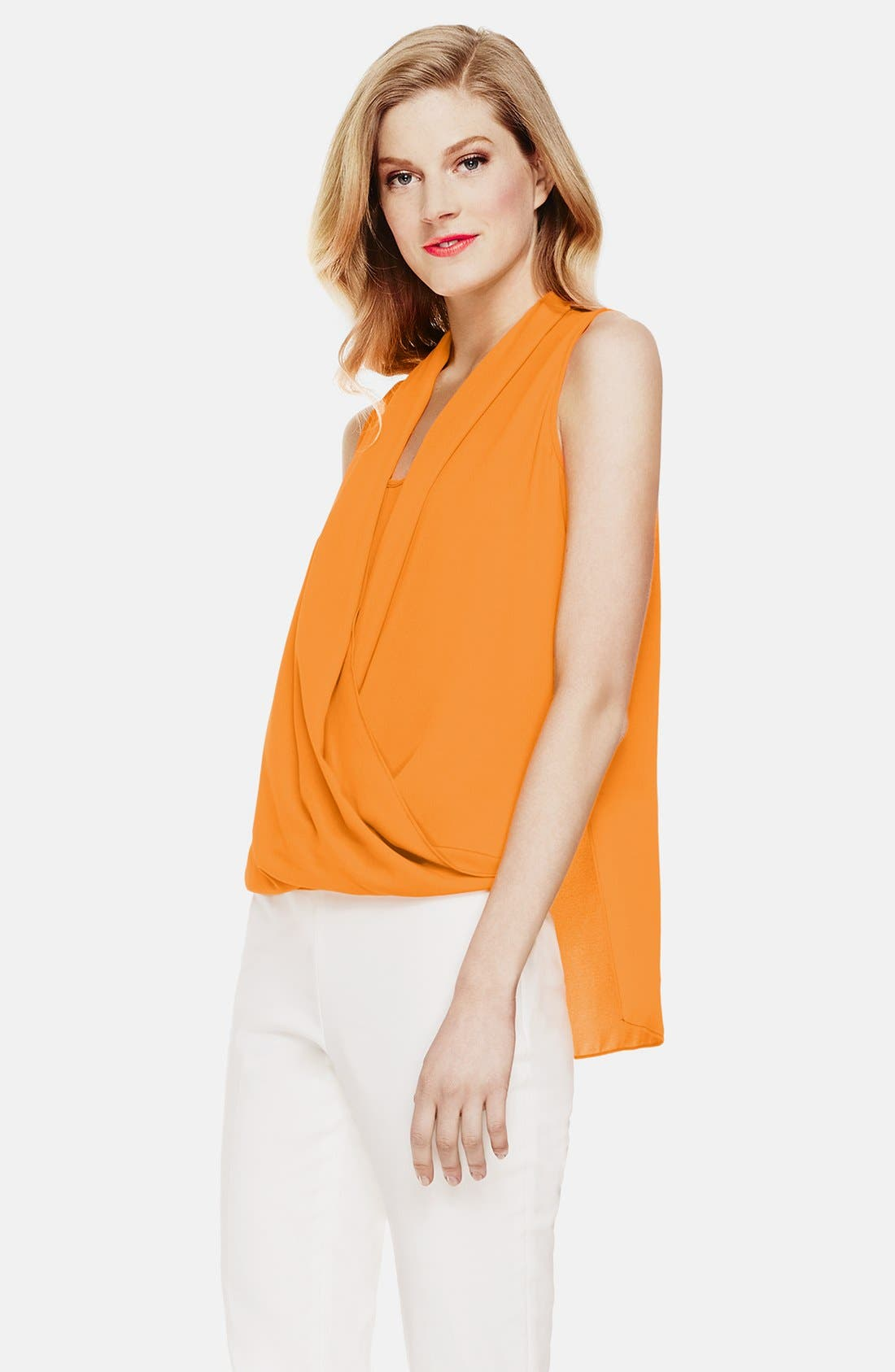 Main Image - Vince Camuto Sleeveless Wrap Front Shirttail Blouse