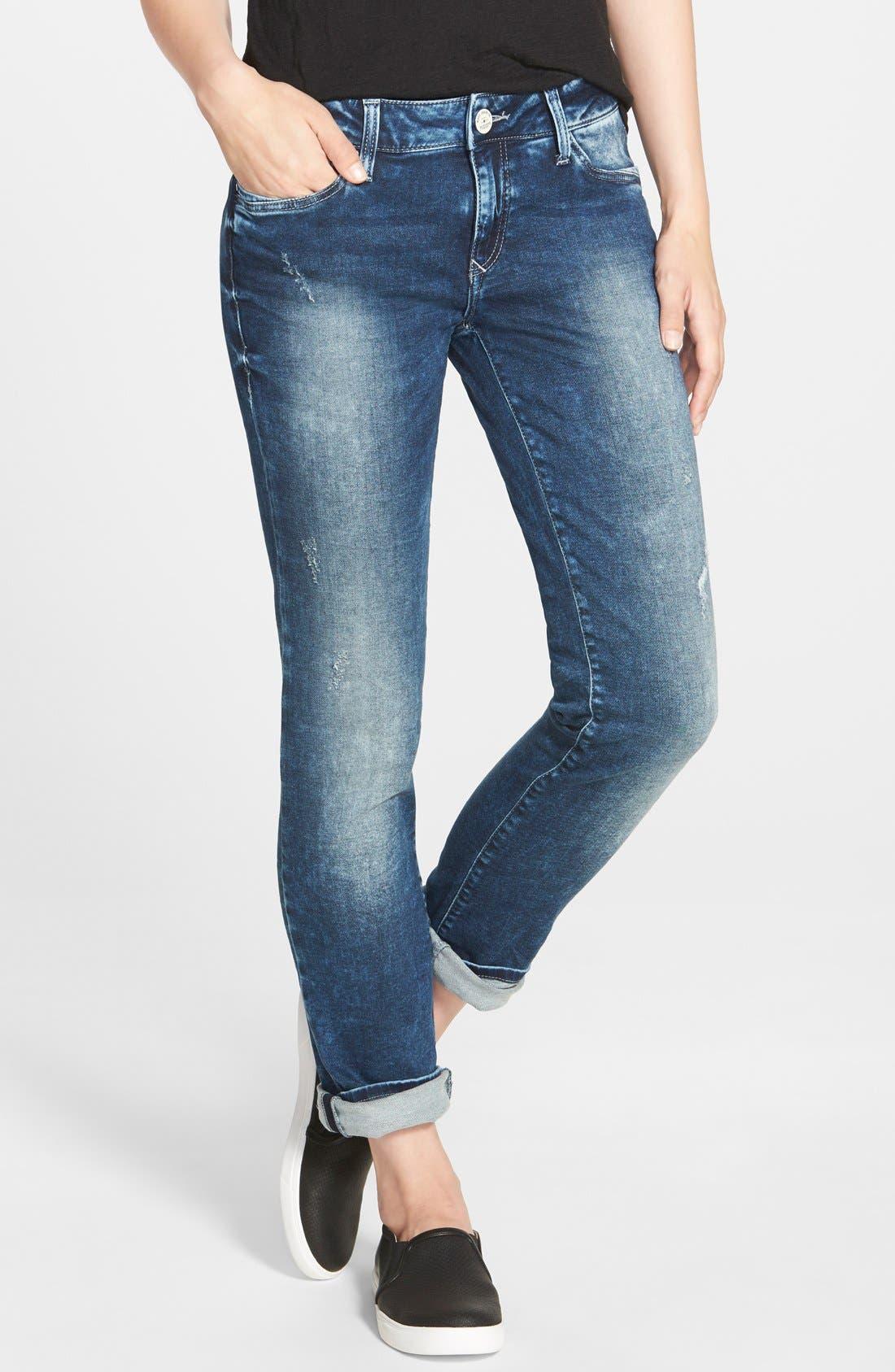 Main Image - Mavi Jeans 'Emma' Distressed Boyfriend Slim Jeans (Mid Sporty)
