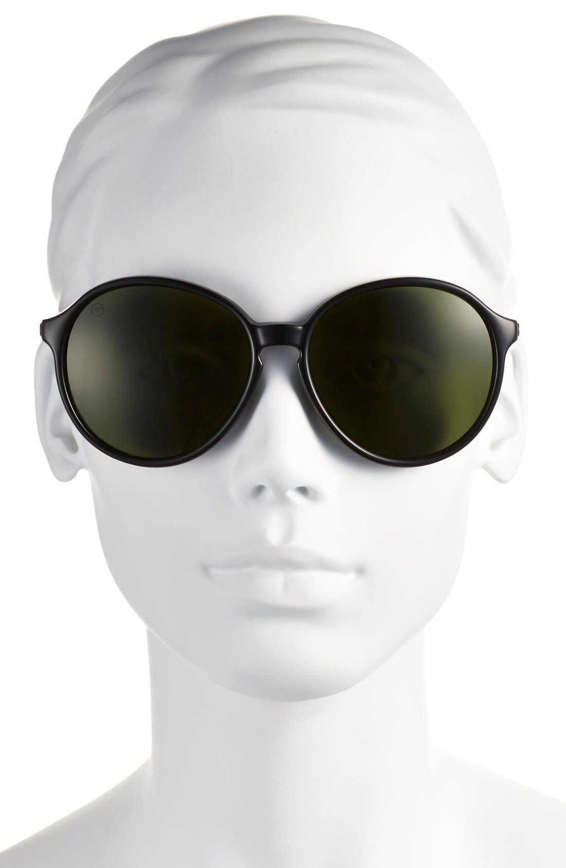 'Riot' 58mm Sunglasses,                             Alternate thumbnail 2, color,                             Gloss Black/ Grey