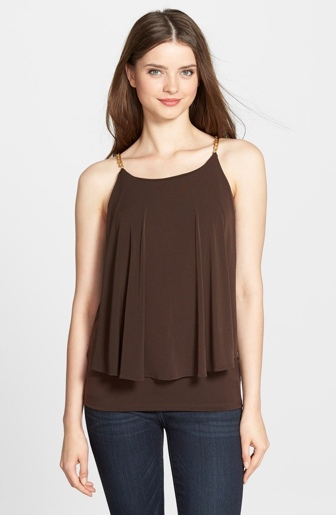 Alternate Image 1 Selected - MICHAEL Michael Kors Chain Strap Tiered Tank