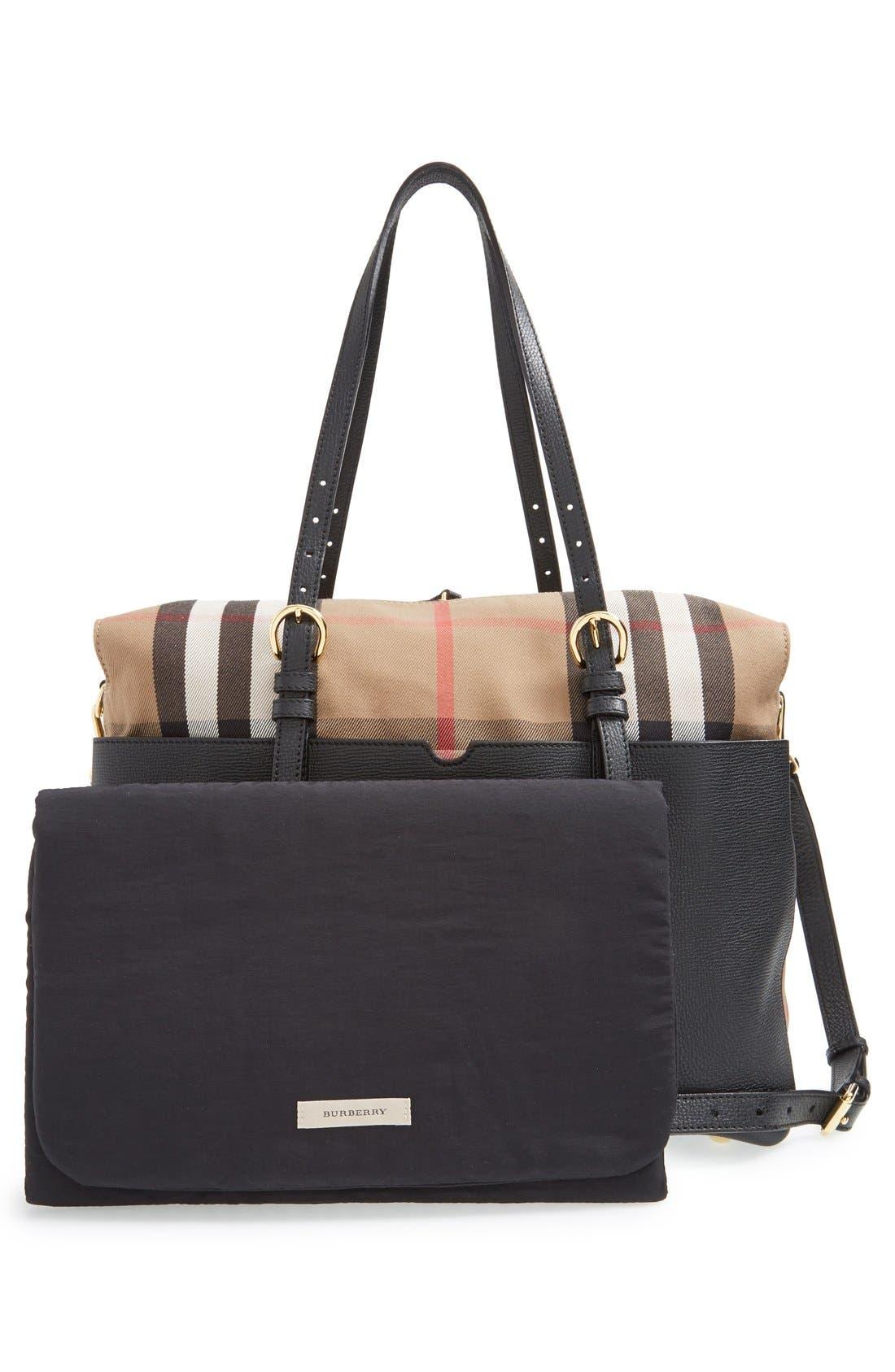 'Mason - House Check' Diaper Bag,                             Alternate thumbnail 3, color,                             Black