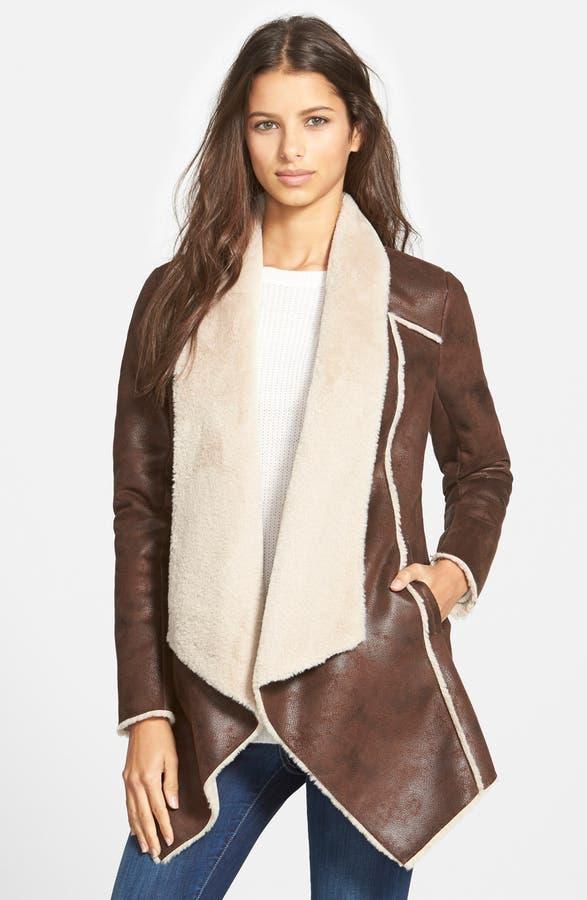 BCBGeneration Faux Shearling Drape Front Coat | Nordstrom