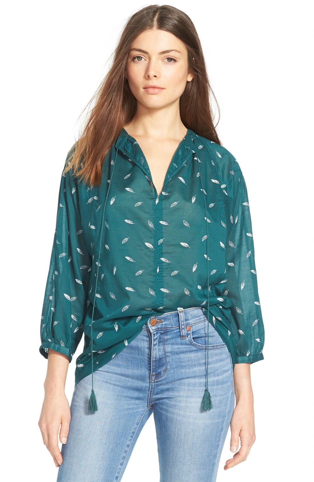 Alternate Image 1 Selected - Madewell 'Fall Feathers' Tie Neck Peasant Blouse