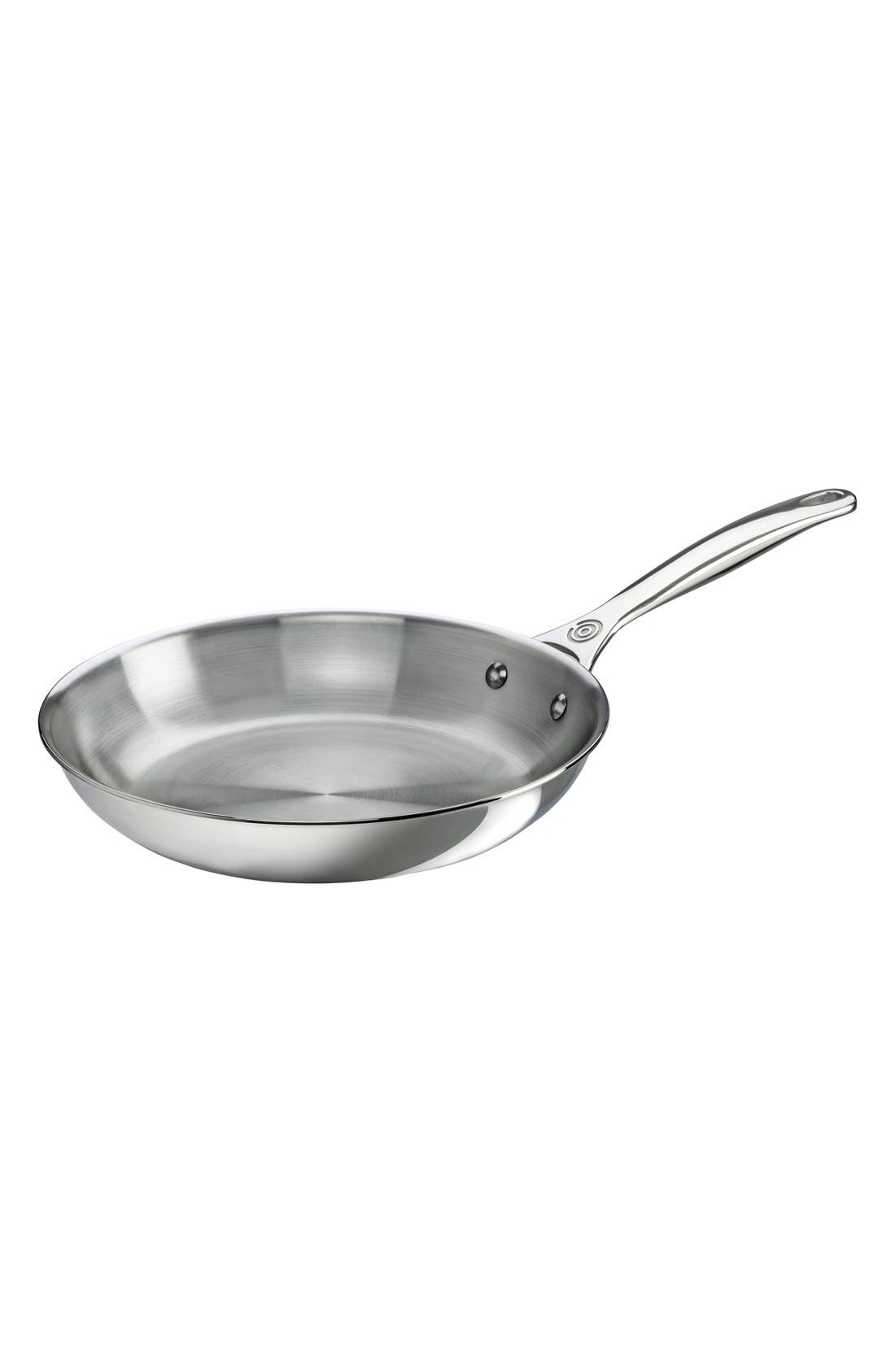 10 Inch Stainless Steel Fry Pan,                             Main thumbnail 1, color,                             Silver
