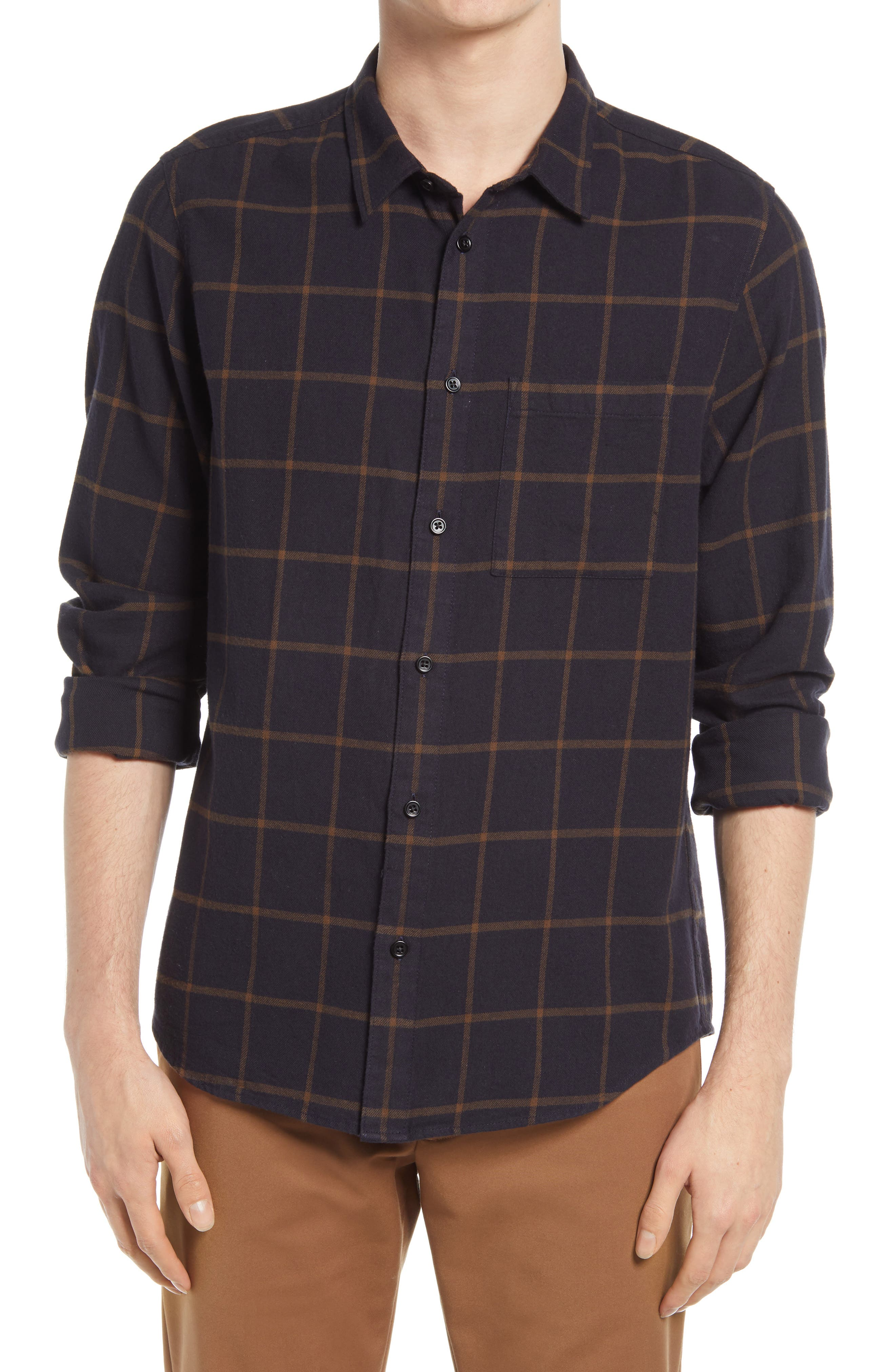 PLAID long Sleeve Checked Flannel Shirt  Men chest pocket shirt  Buttoned up shirt Board Grunge Gentleman Bearded manSize Small to Medium
