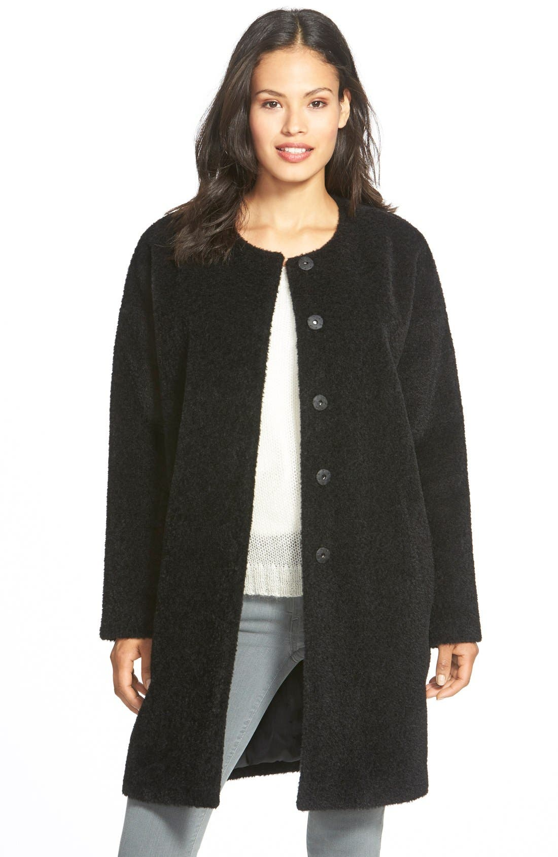 Wool & Alpaca Blend Collarless Coat,                             Main thumbnail 1, color,                             Black