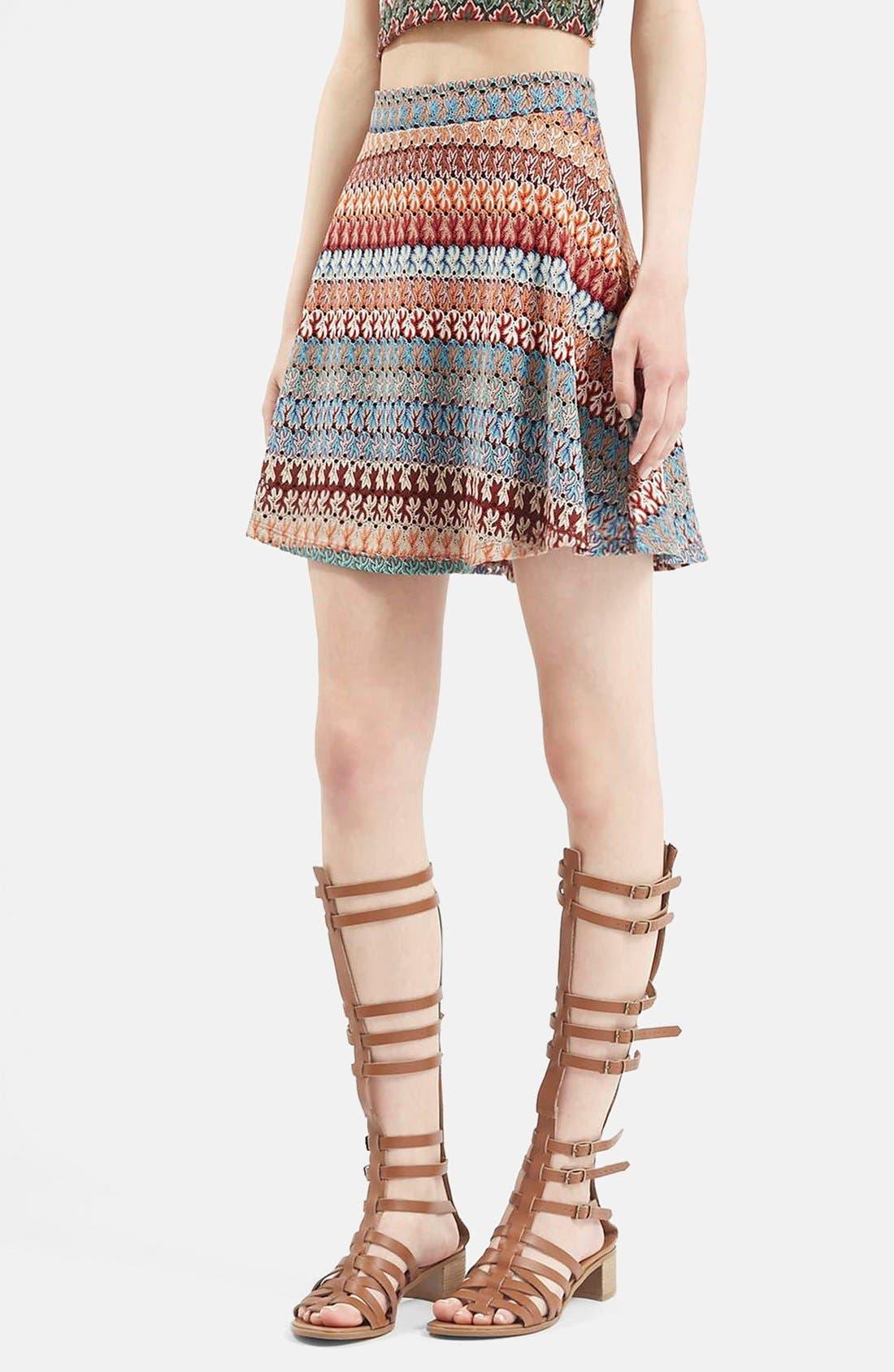 Alternate Image 1 Selected - Topshop Crochet Stripe A-Line Skirt