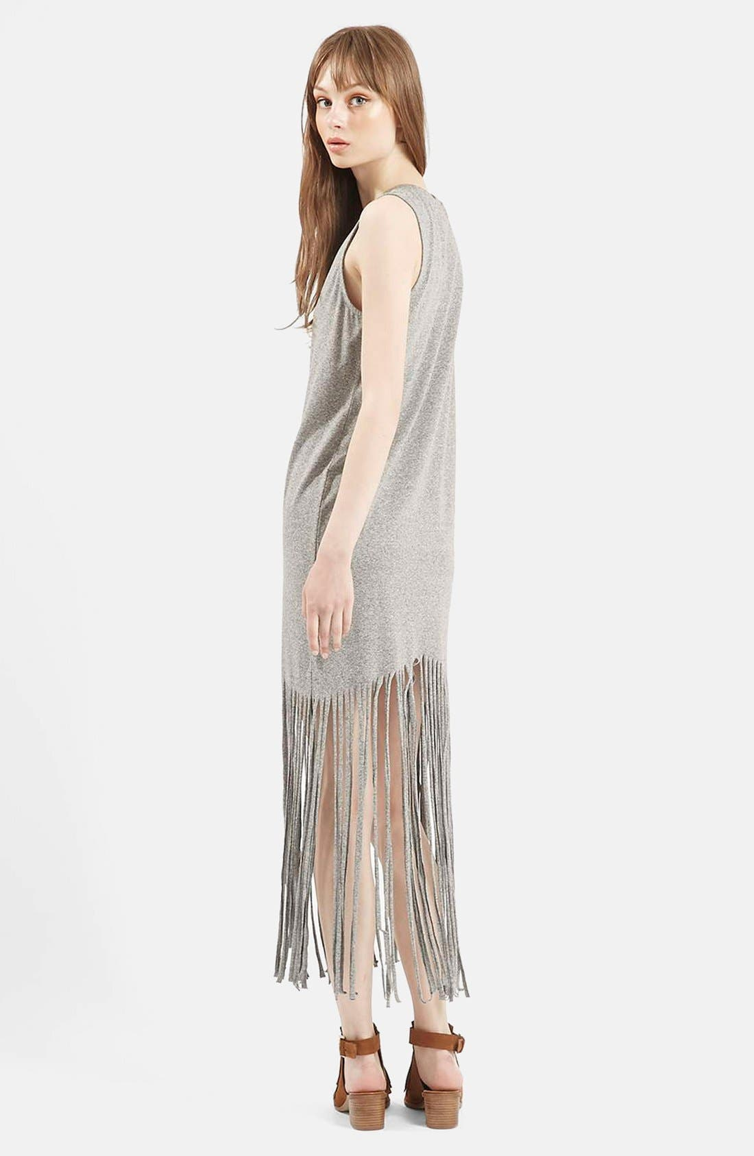 Sleeveless Fringe Dress,                             Alternate thumbnail 2, color,                             Grey